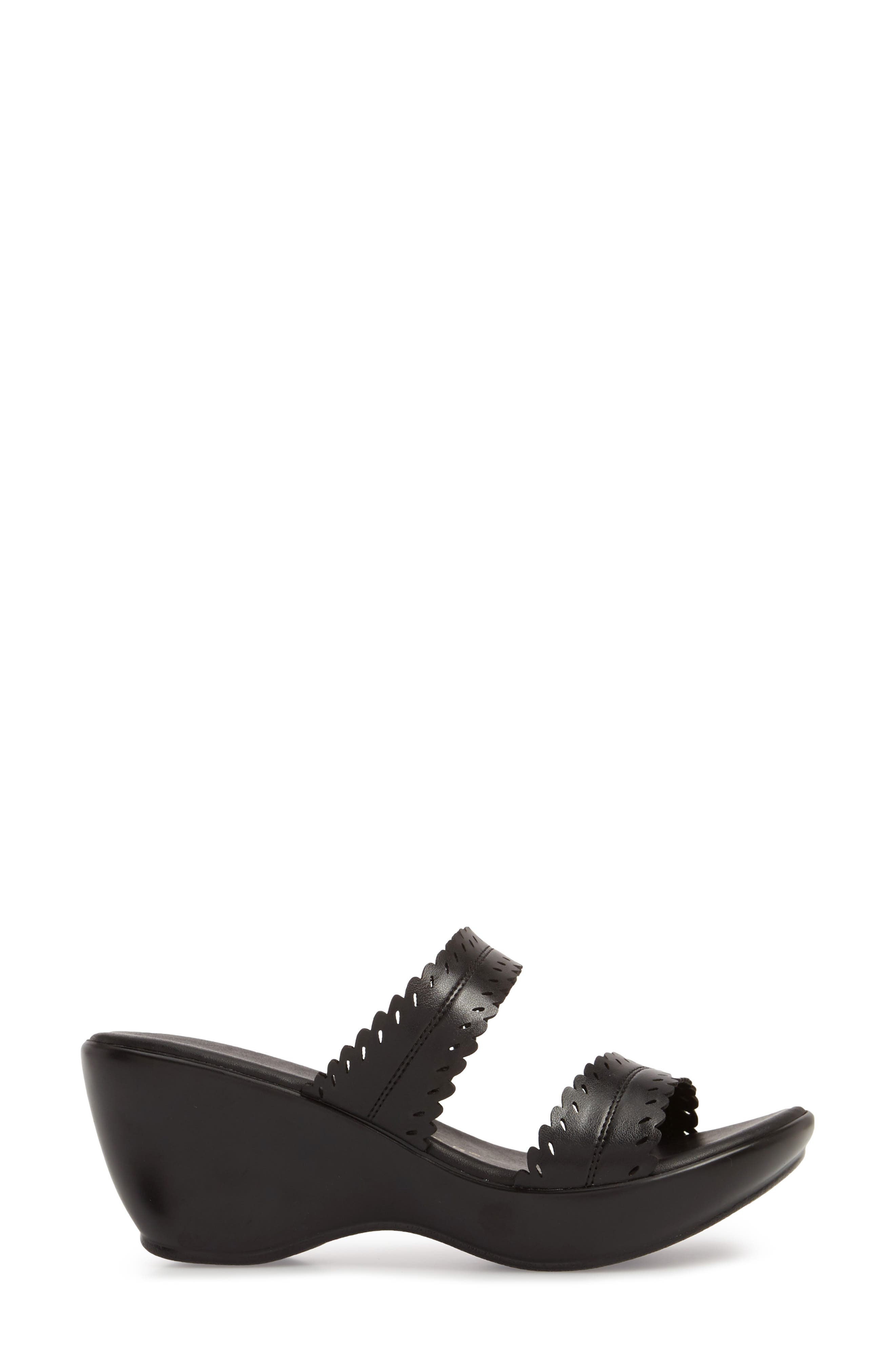 Pouty Wedge Sandal,                             Alternate thumbnail 3, color,                             BLACK FABRIC