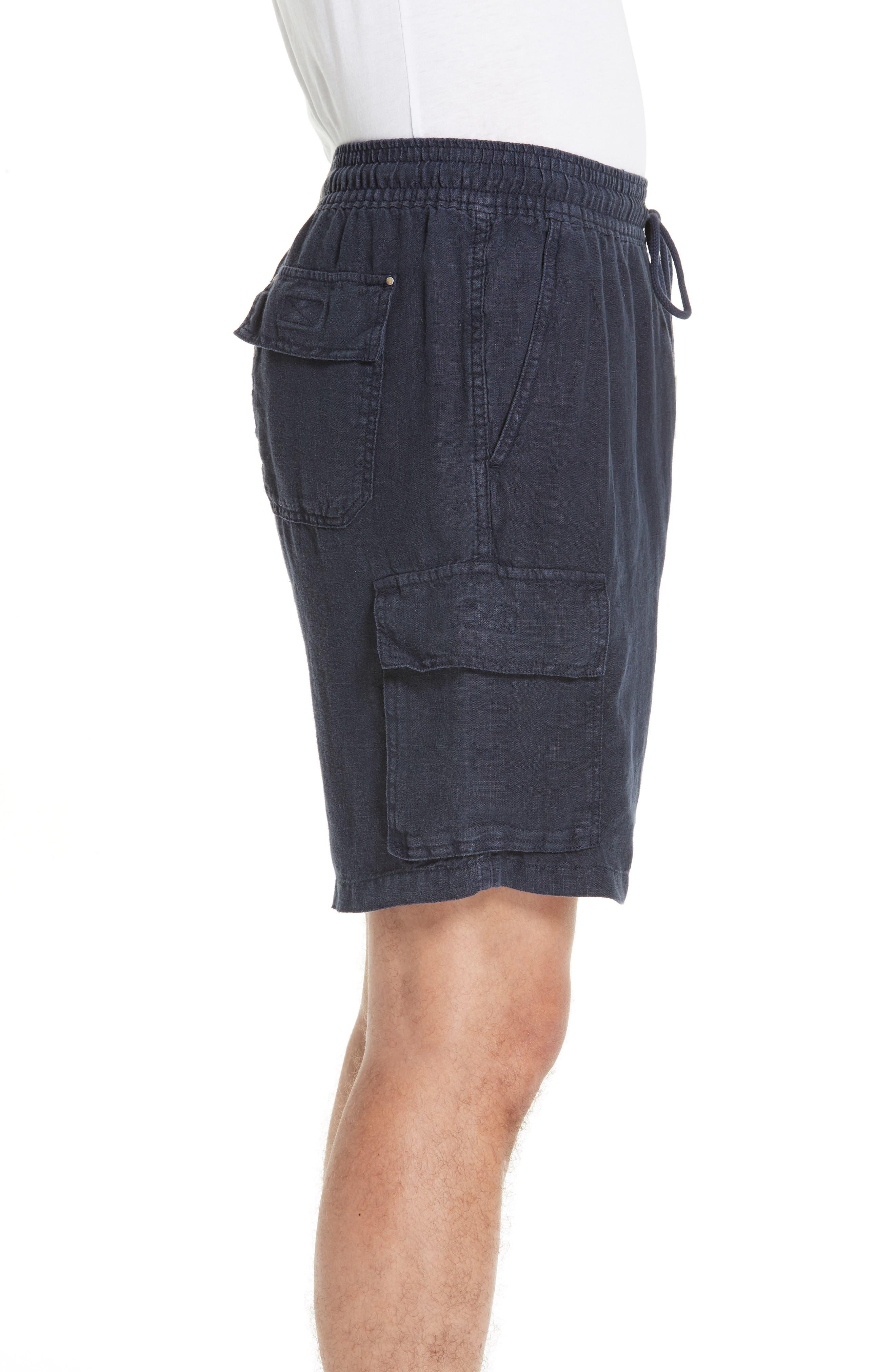 Vilbrequin Linen Cargo Shorts,                             Alternate thumbnail 3, color,                             BLUE