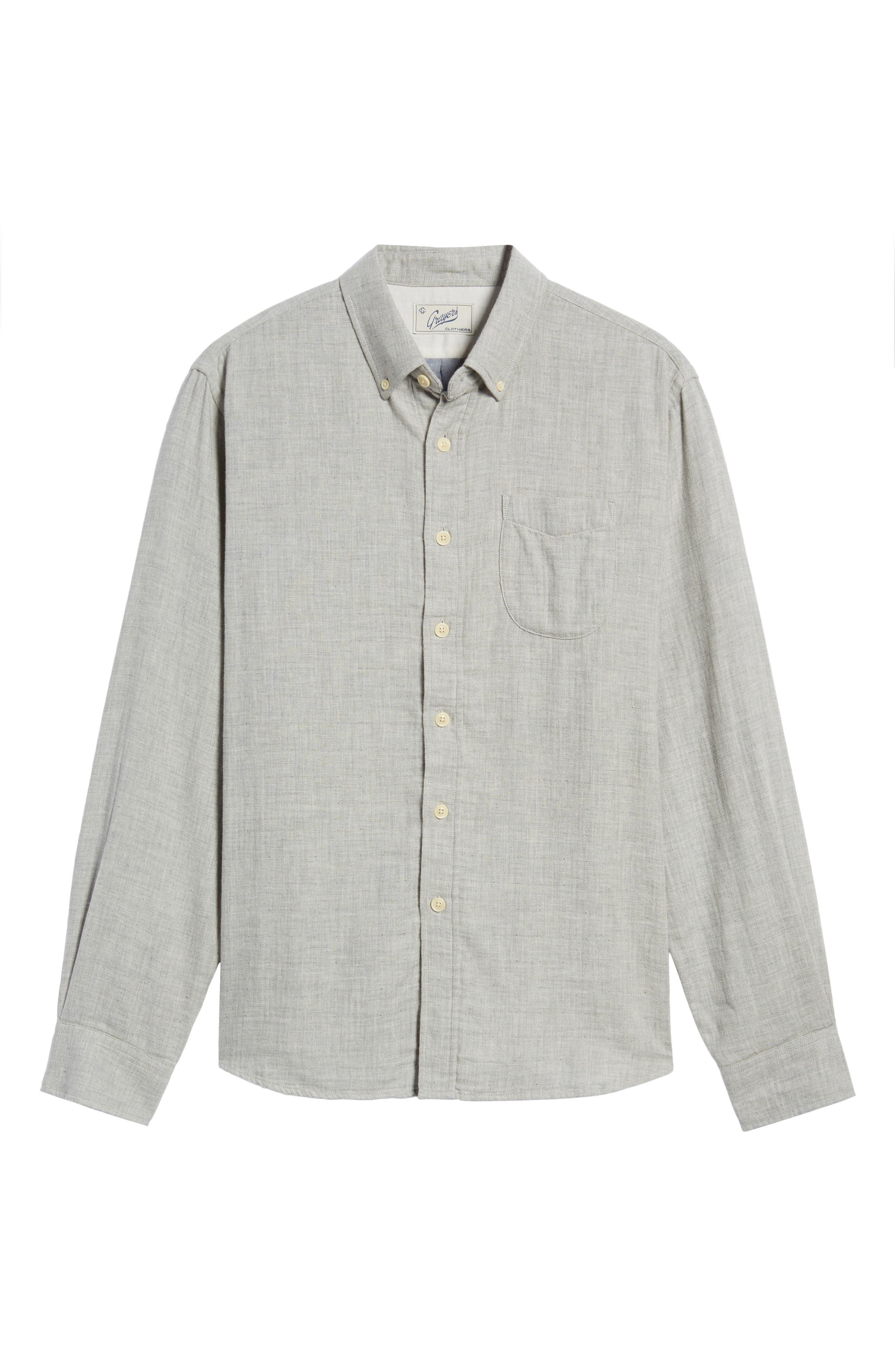 Chester Modern Fit Double Cloth Herringbone Sport Shirt,                             Alternate thumbnail 6, color,