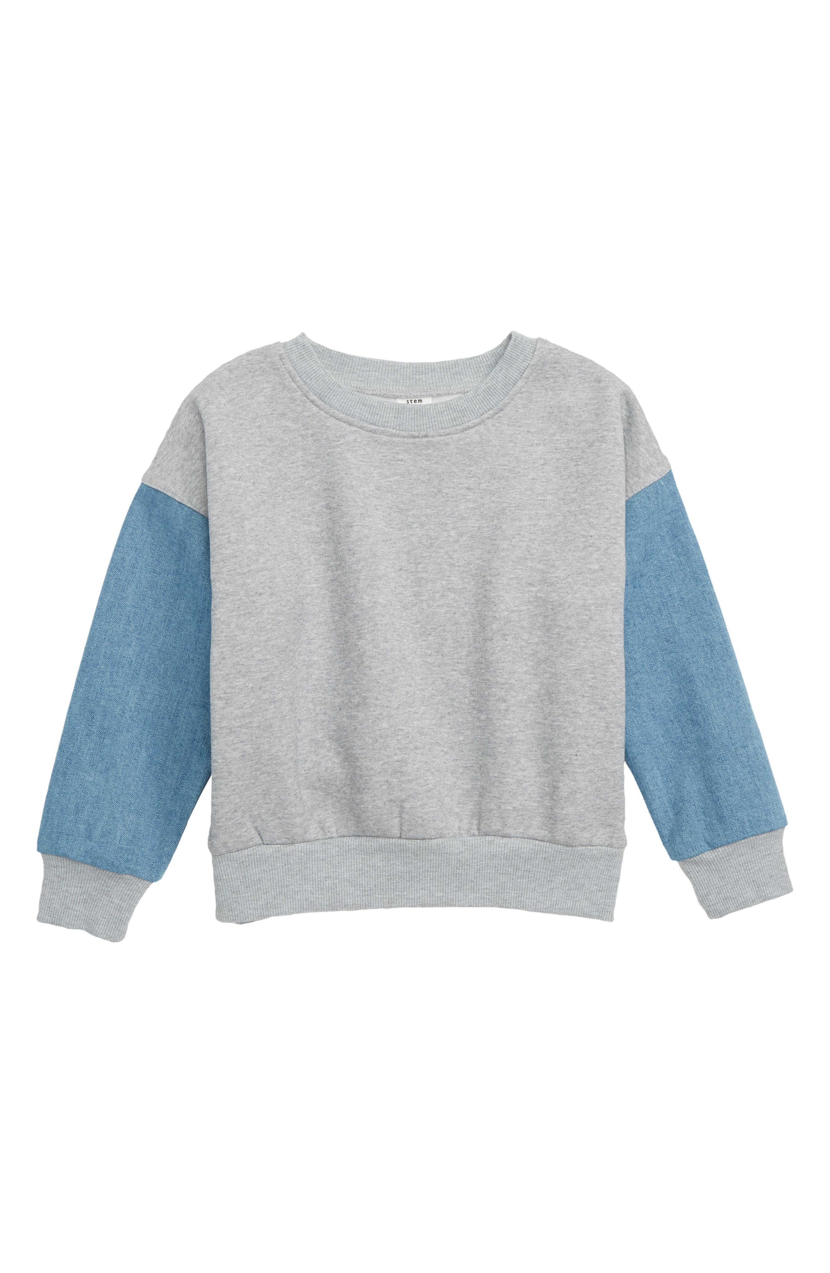 Denim Sleeve Sweatshirt,                         Main,                         color, SCHOOL WASH