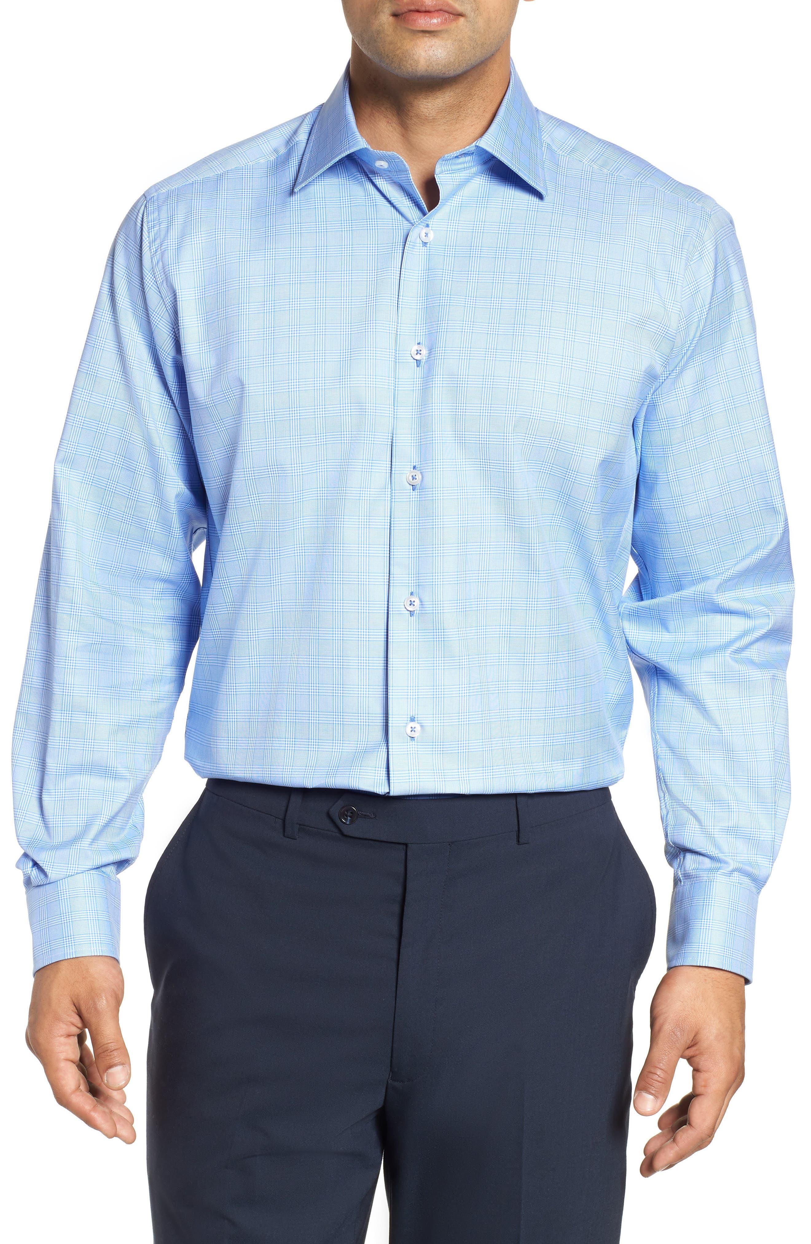 Regular Fit Plaid Dress Shirt,                             Main thumbnail 1, color,                             BLUE