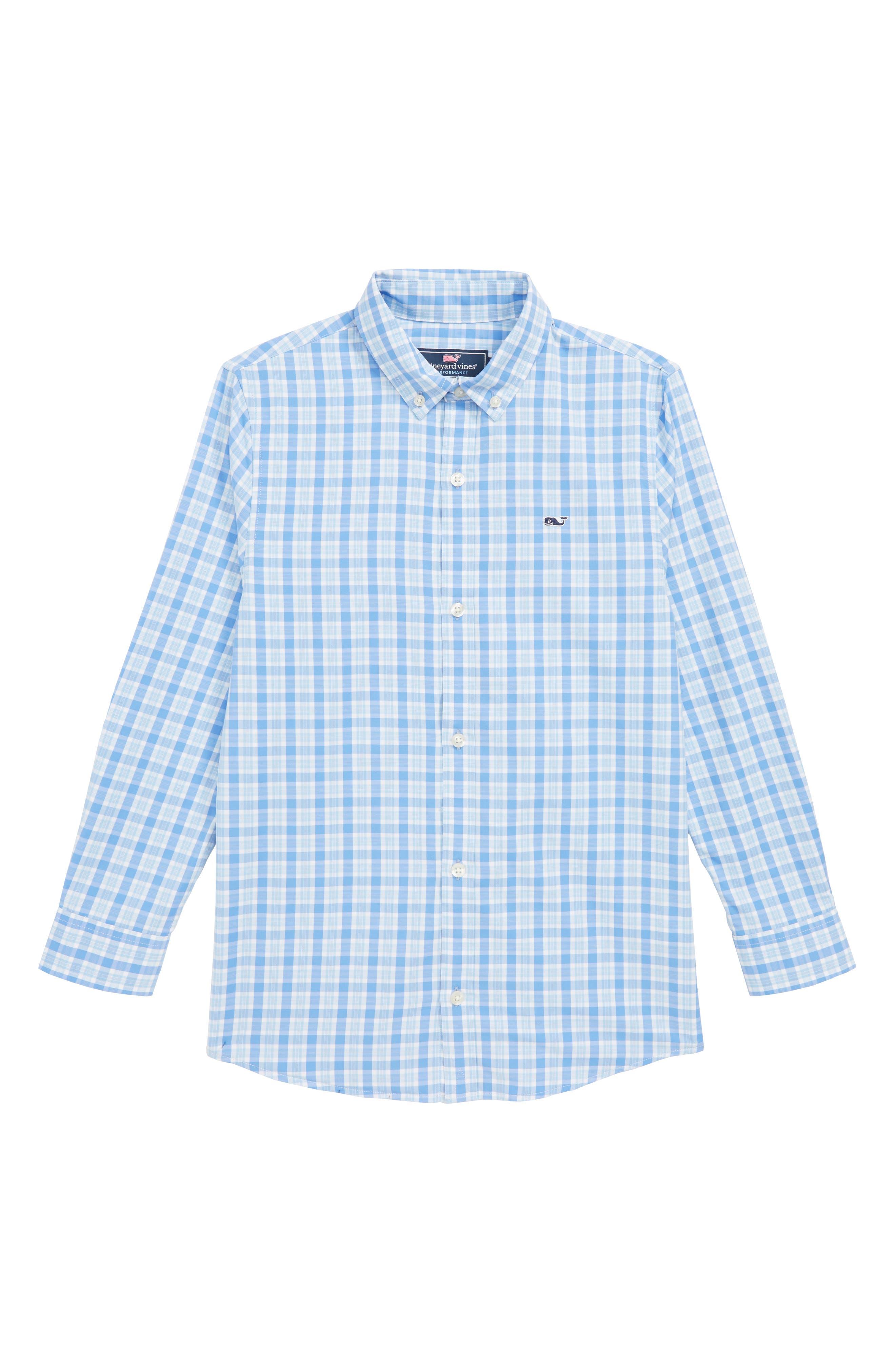 Performance Check Sport Shirt,                             Main thumbnail 1, color,                             BAYSIDE BLUE