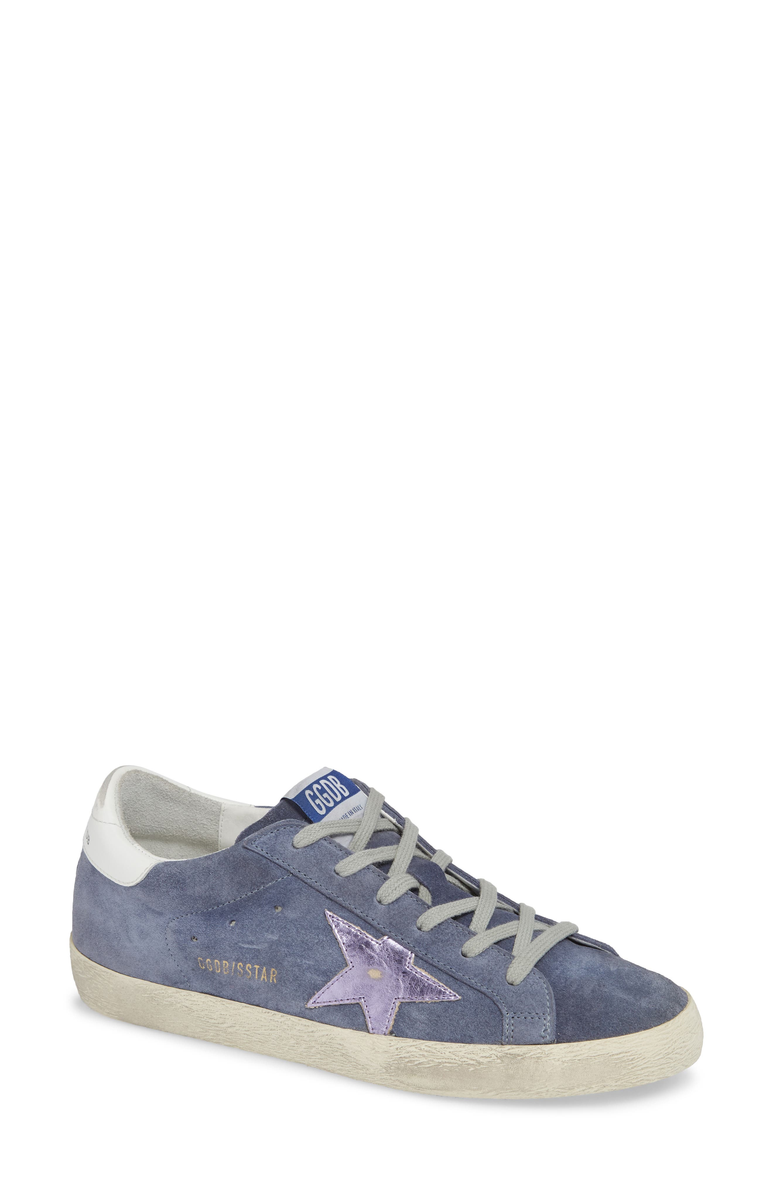 Superstar Suede Platform Low-Top Sneaker With Leather Star in Blue