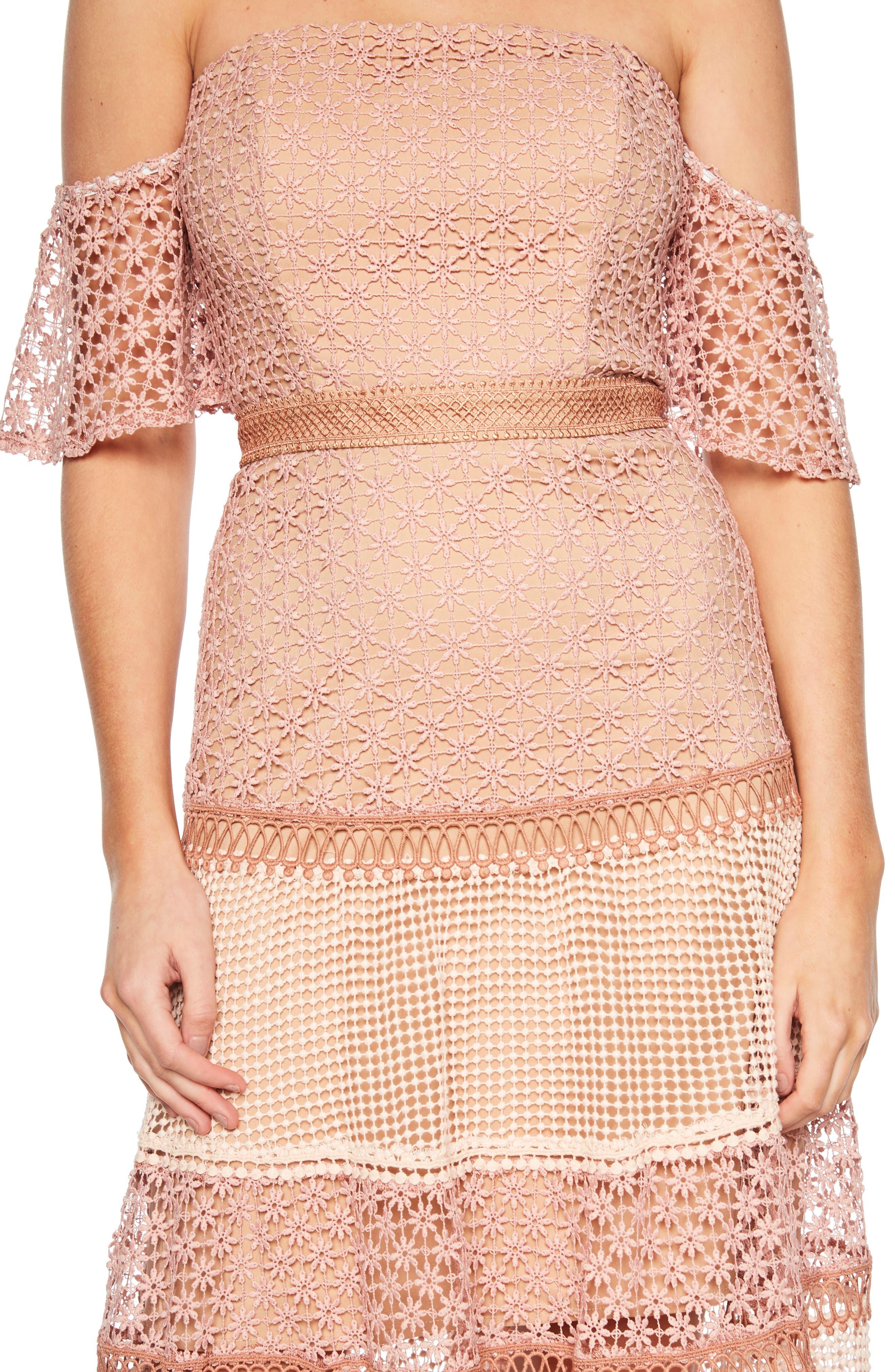 Kristen Off the Shoulder Lace Midi Dress,                             Alternate thumbnail 4, color,                             DUSTY ROSE
