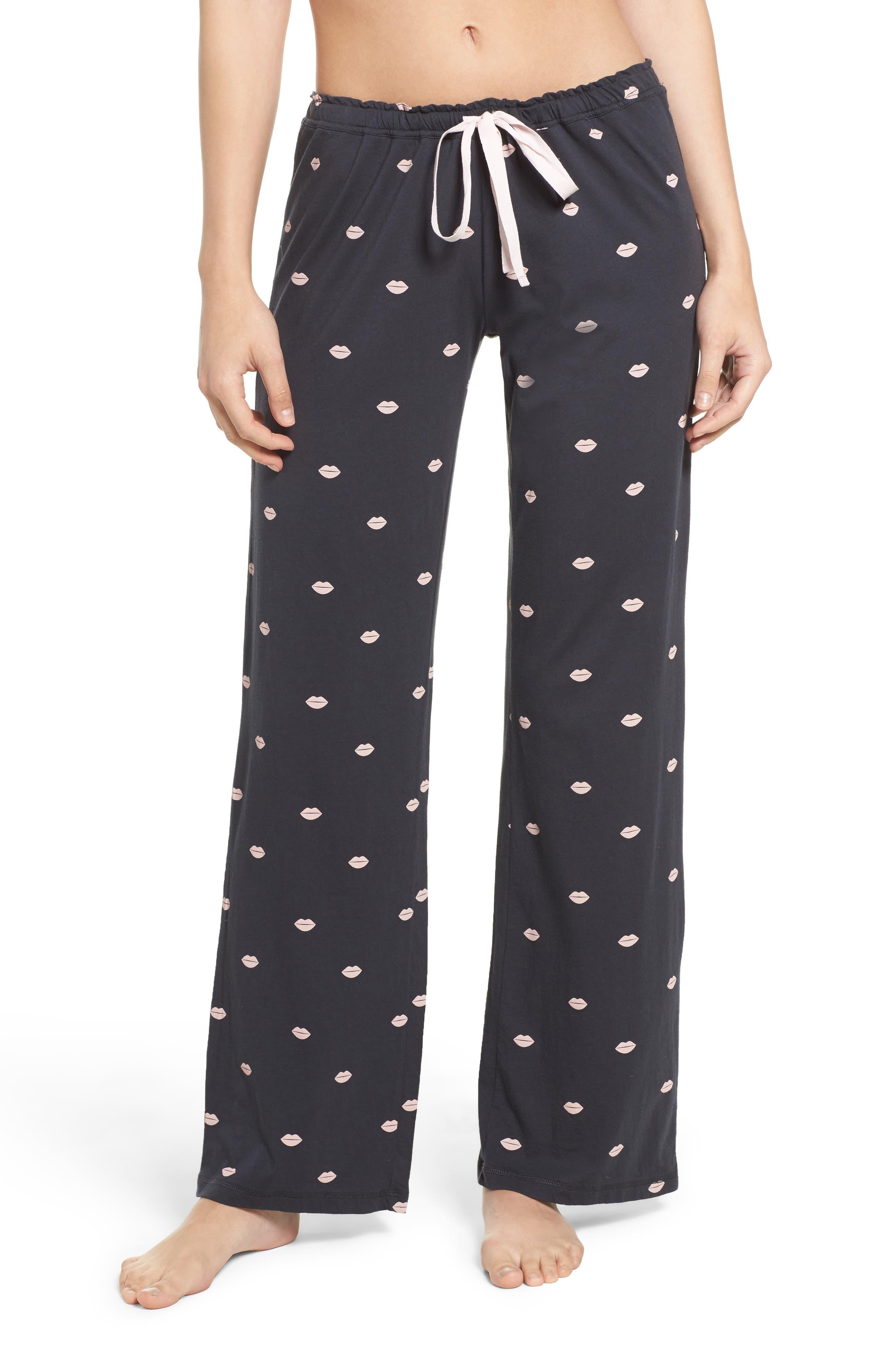 Lip Print Pajama Pants,                             Main thumbnail 1, color,                             030