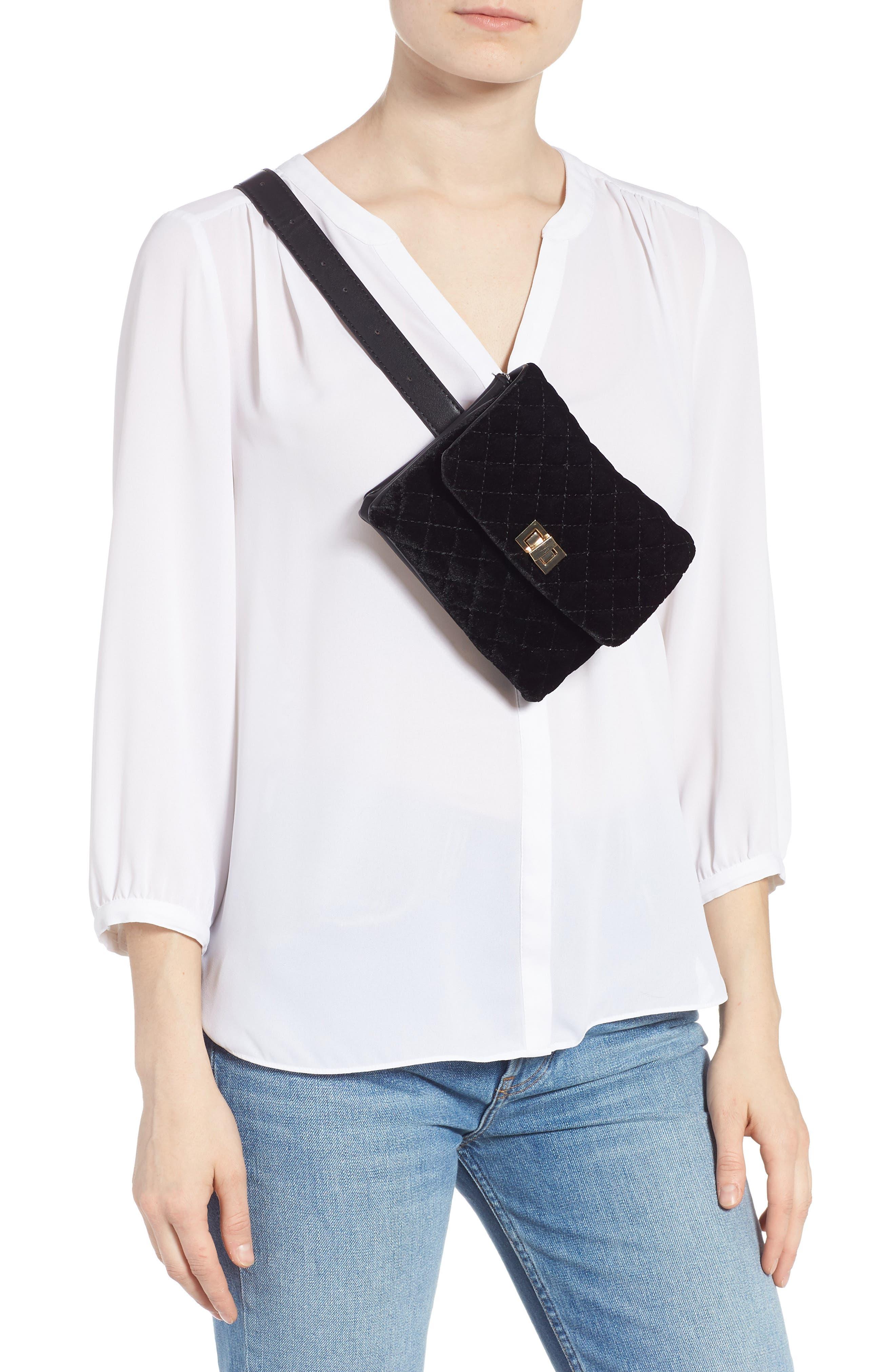 Mali + Lili Nikki Quilted Velvet Belt Bag,                             Alternate thumbnail 3, color,                             BLACK
