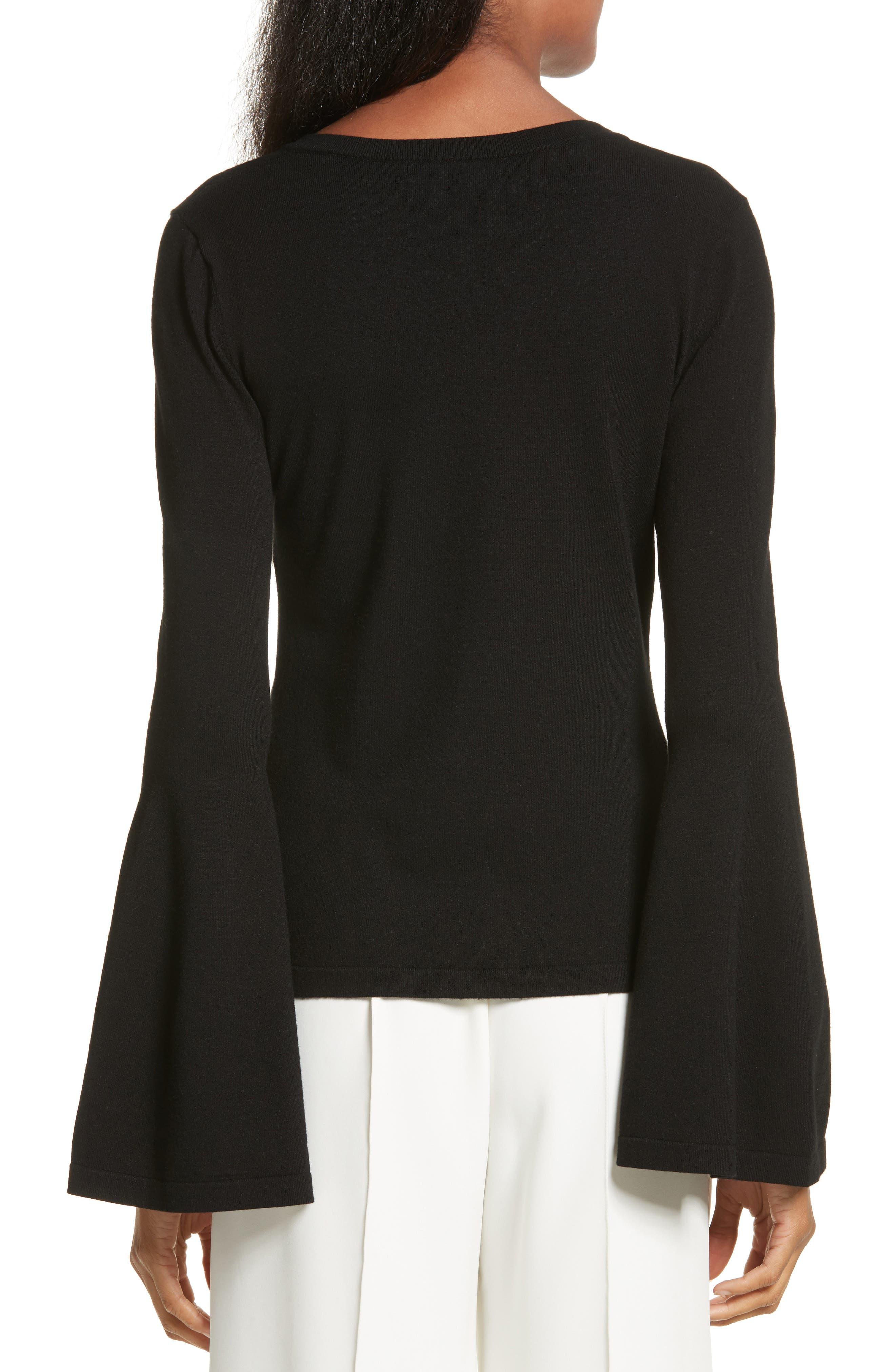 Bell Sleeve V-Neck Sweater,                             Alternate thumbnail 5, color,