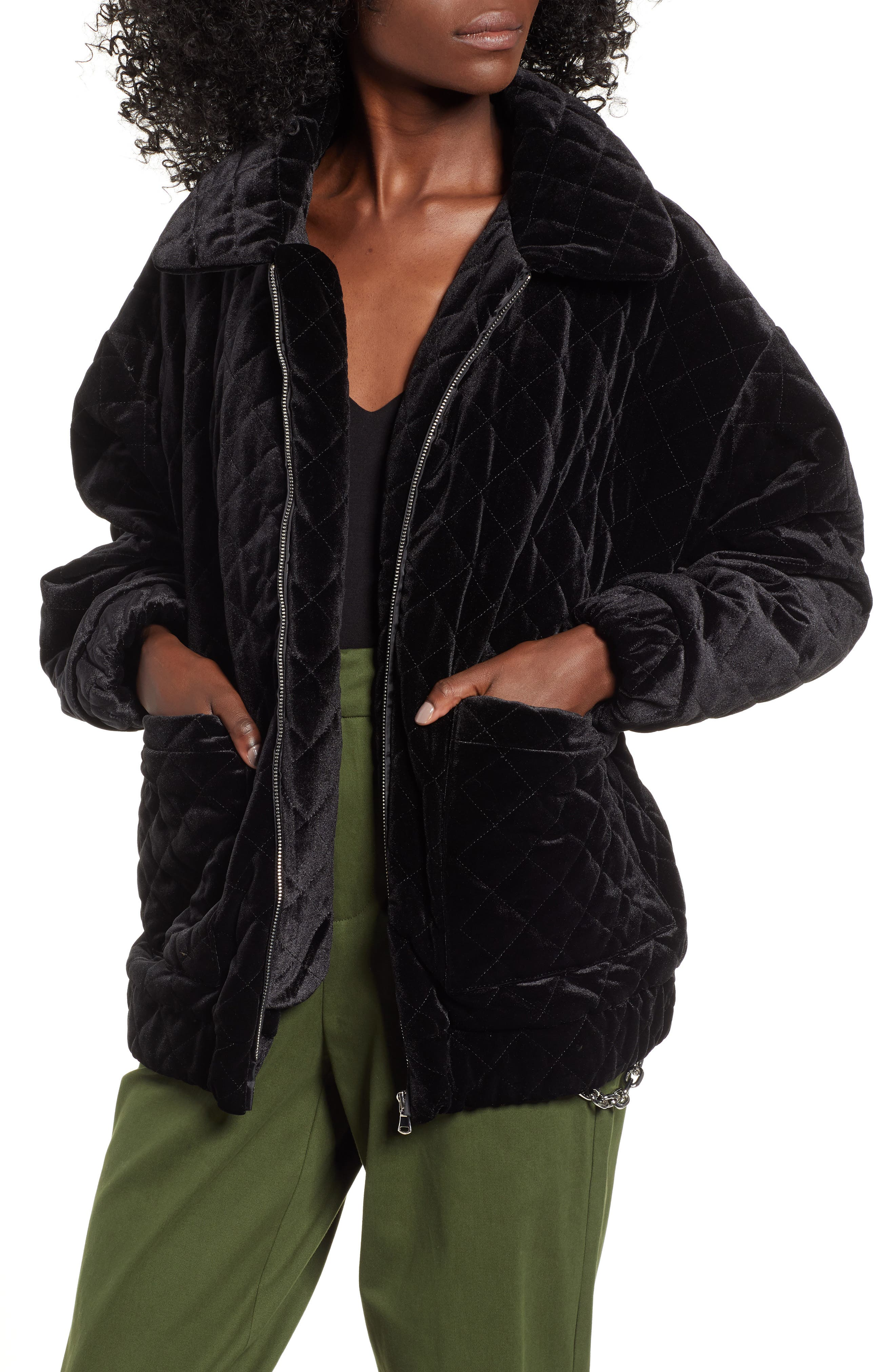 I.AM.GIA Contraband Quilted Velvet Jacket,                             Main thumbnail 1, color,                             BLACK