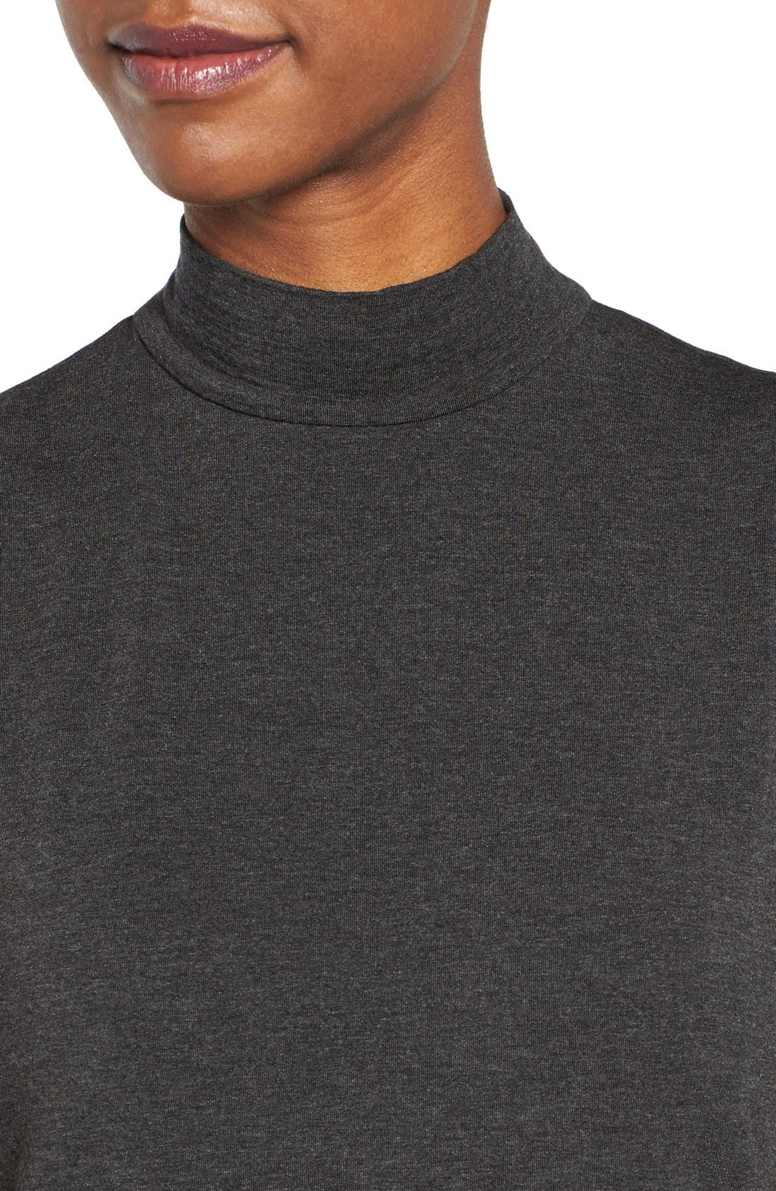 EILEEN FISHER,                             Lightweight Tencel<sup>®</sup> Lyocell Stretch Jersey Top,                             Alternate thumbnail 4, color,                             001