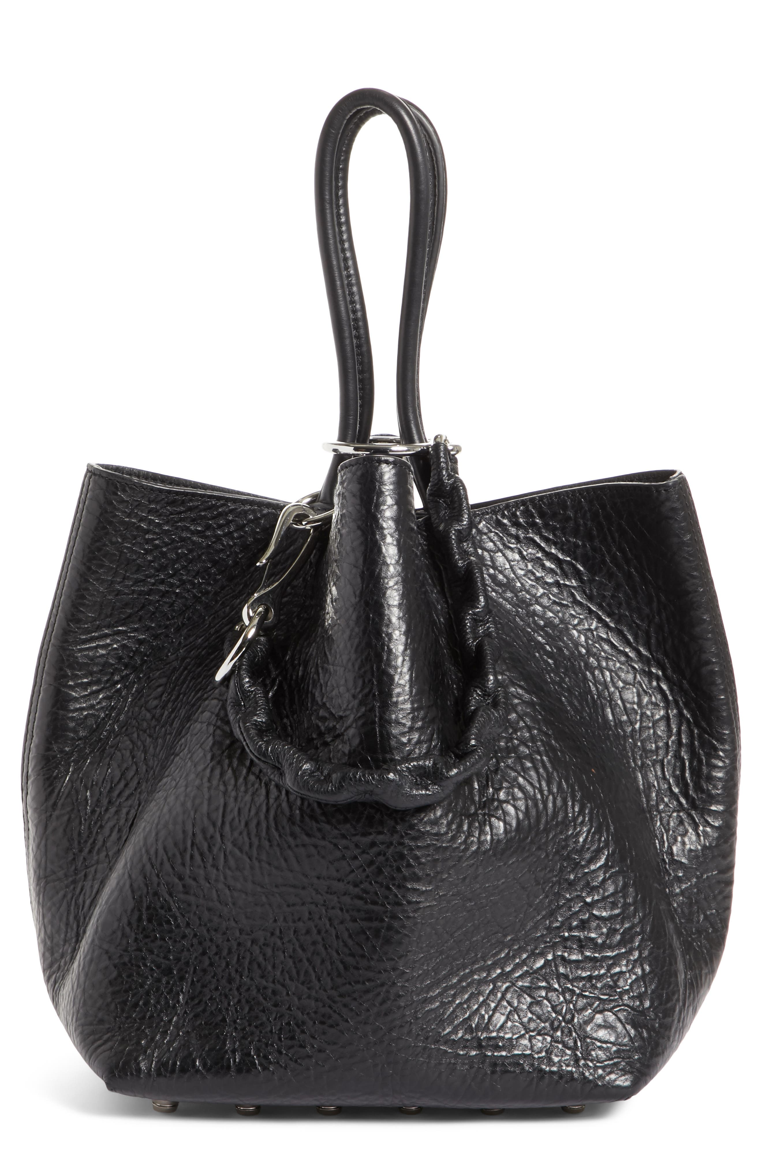 Small Roxy Covered Chain Leather Bucket Bag,                             Main thumbnail 1, color,                             BLACK