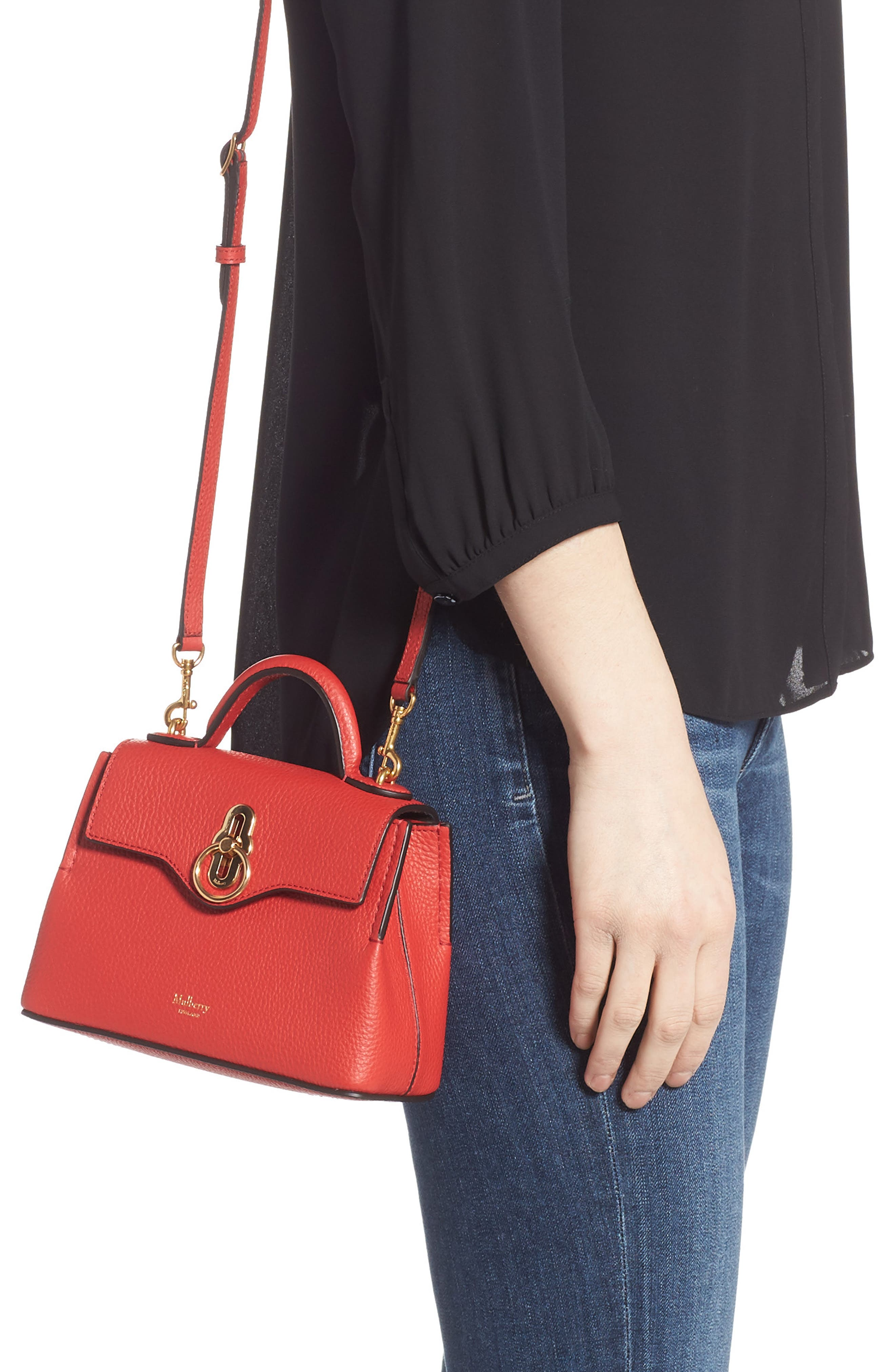 MULBERRY,                             Micro Seaton Leather Convertible Crossbody Bag,                             Alternate thumbnail 2, color,                             HIBISCUS RED