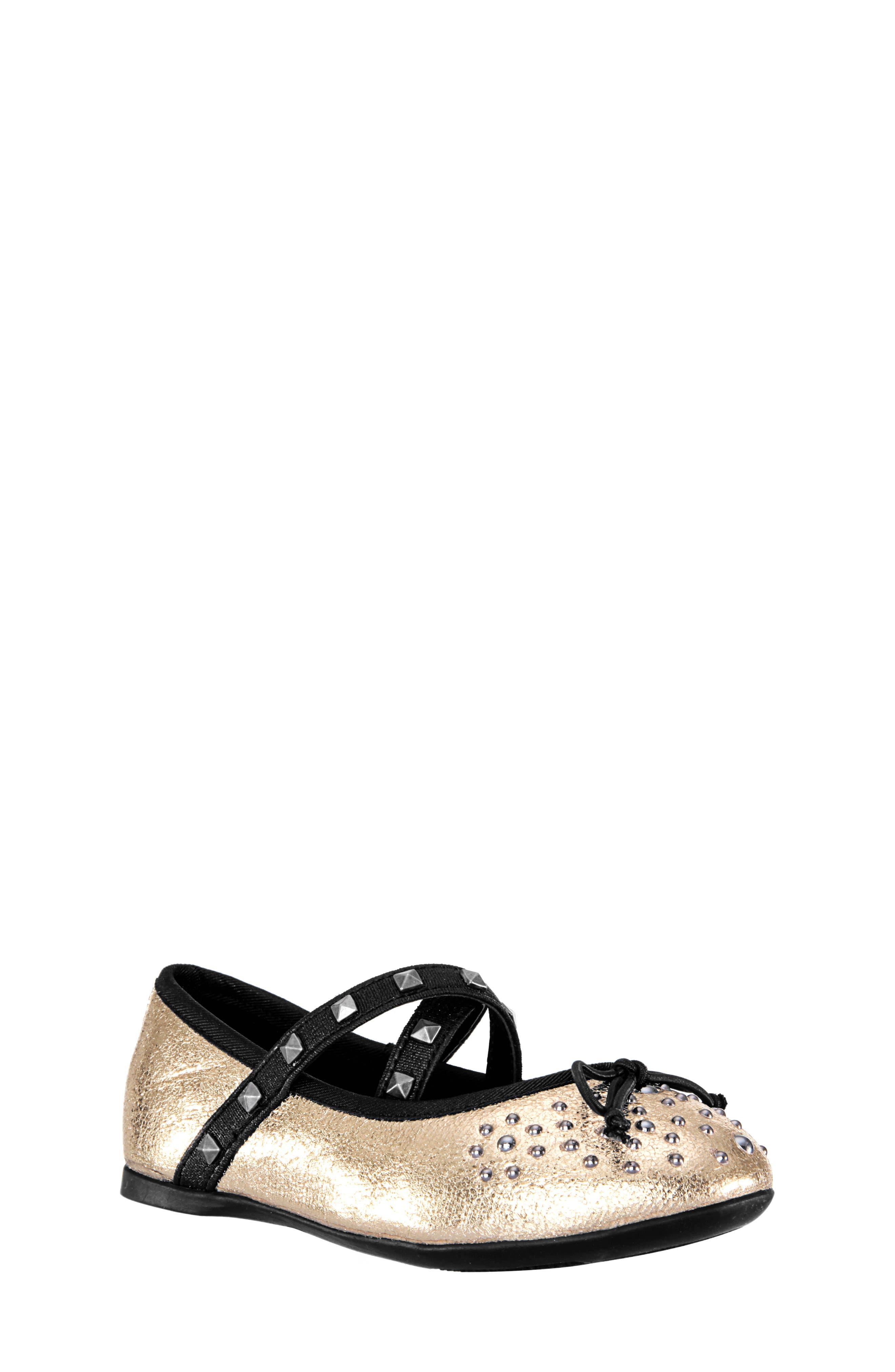 Averi Studded Ballet Flat,                             Main thumbnail 1, color,                             GOLD CRACKLE METALLIC