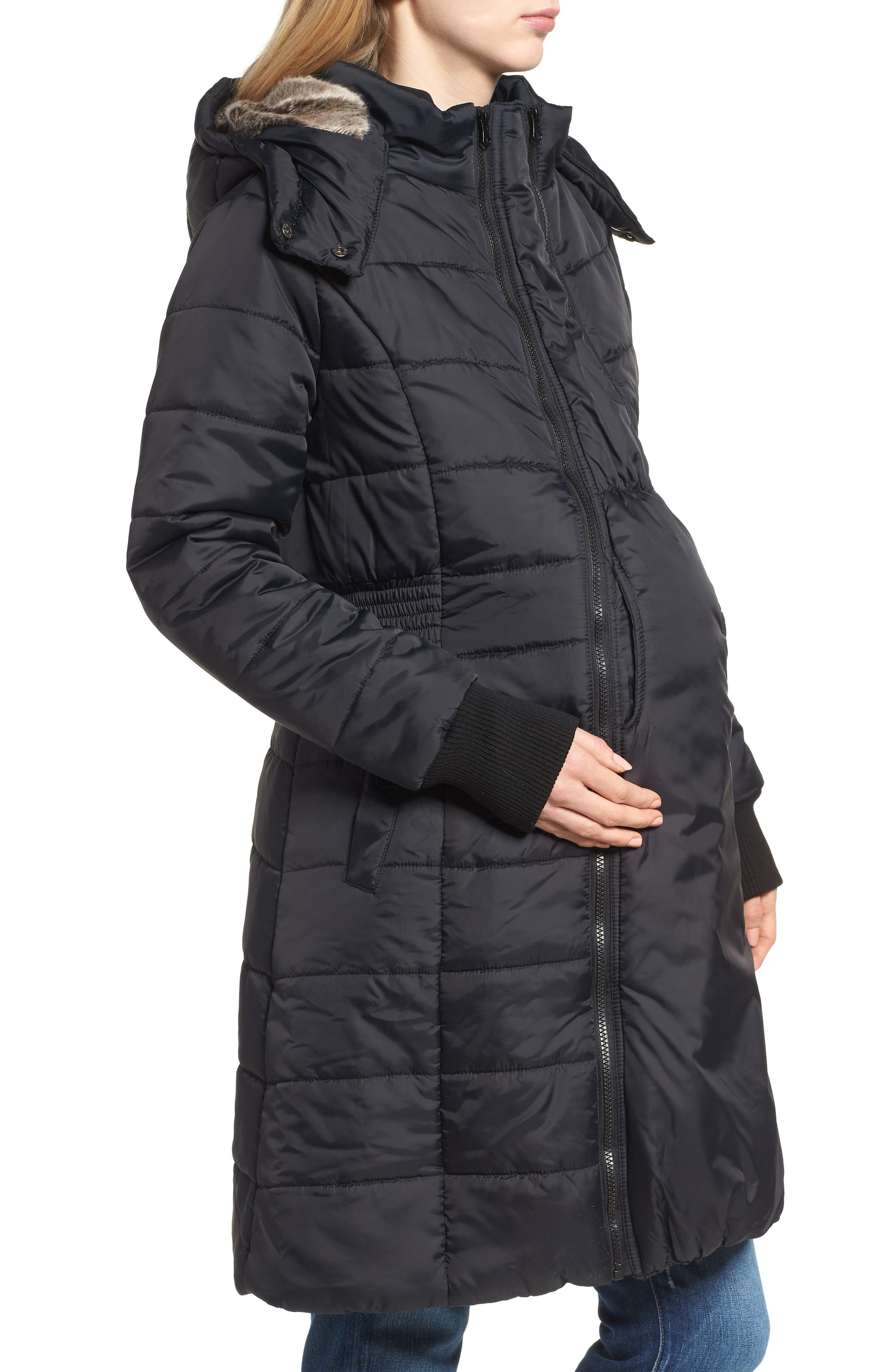 Madison Quilted 3-in-1 Maternity Puffer Coat with Faux Fur Trim,                             Alternate thumbnail 5, color,                             BLACK