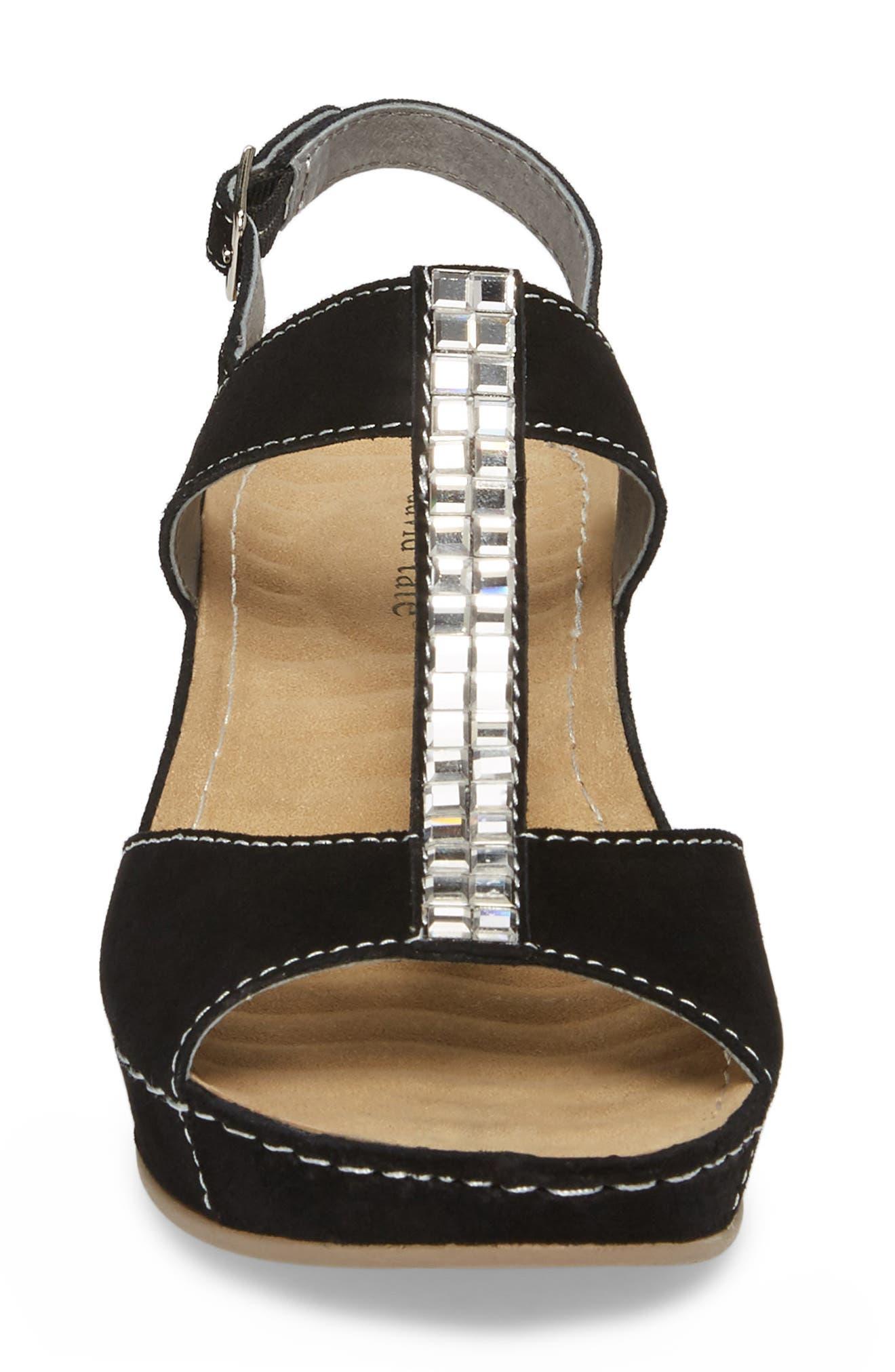 Bubbly Embellished T-Strap Wedge Sandal,                             Alternate thumbnail 4, color,                             BLACK SUEDE