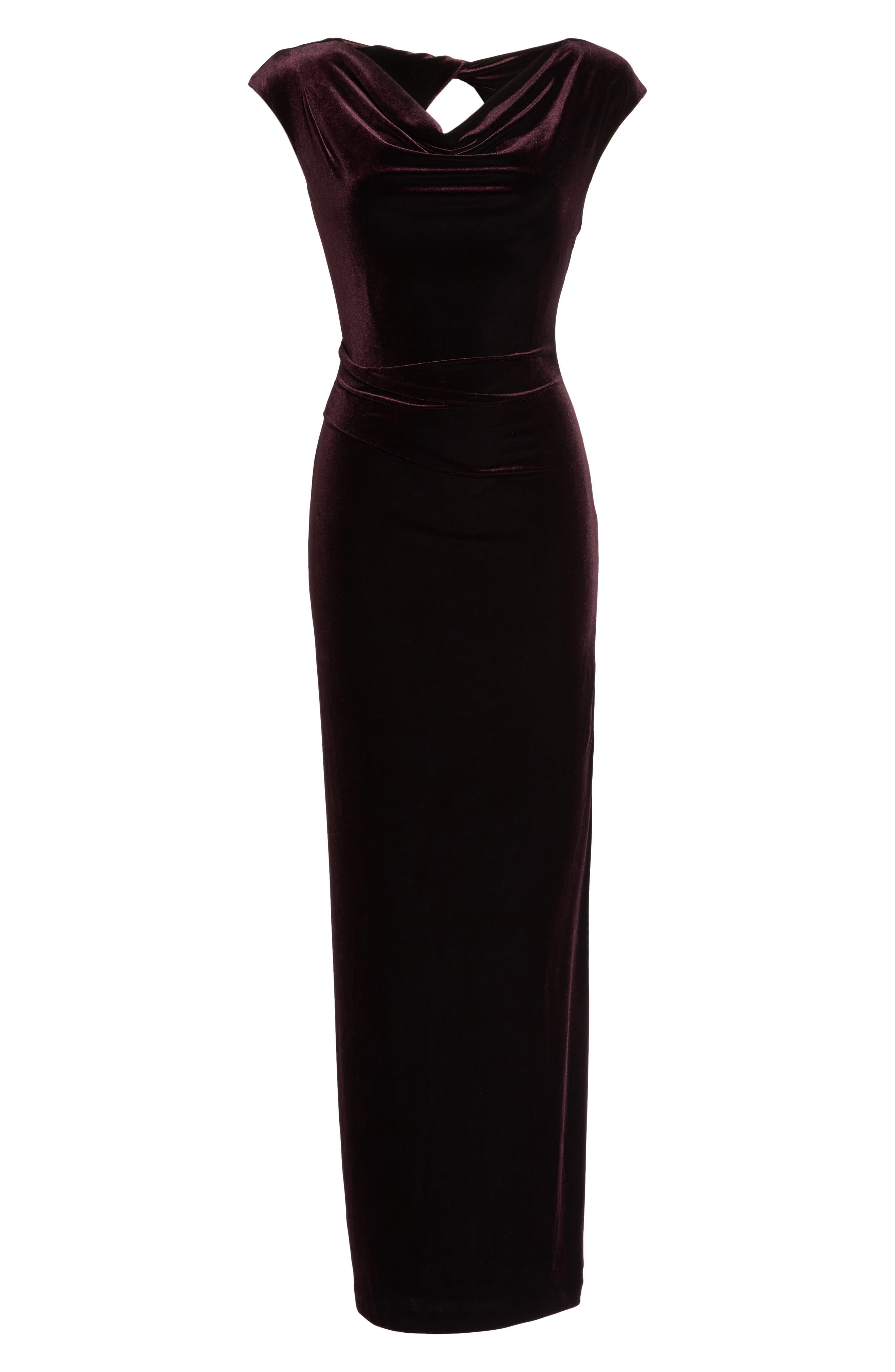 Cap Sleeve Draped Velvet Gown,                             Alternate thumbnail 6, color,                             507