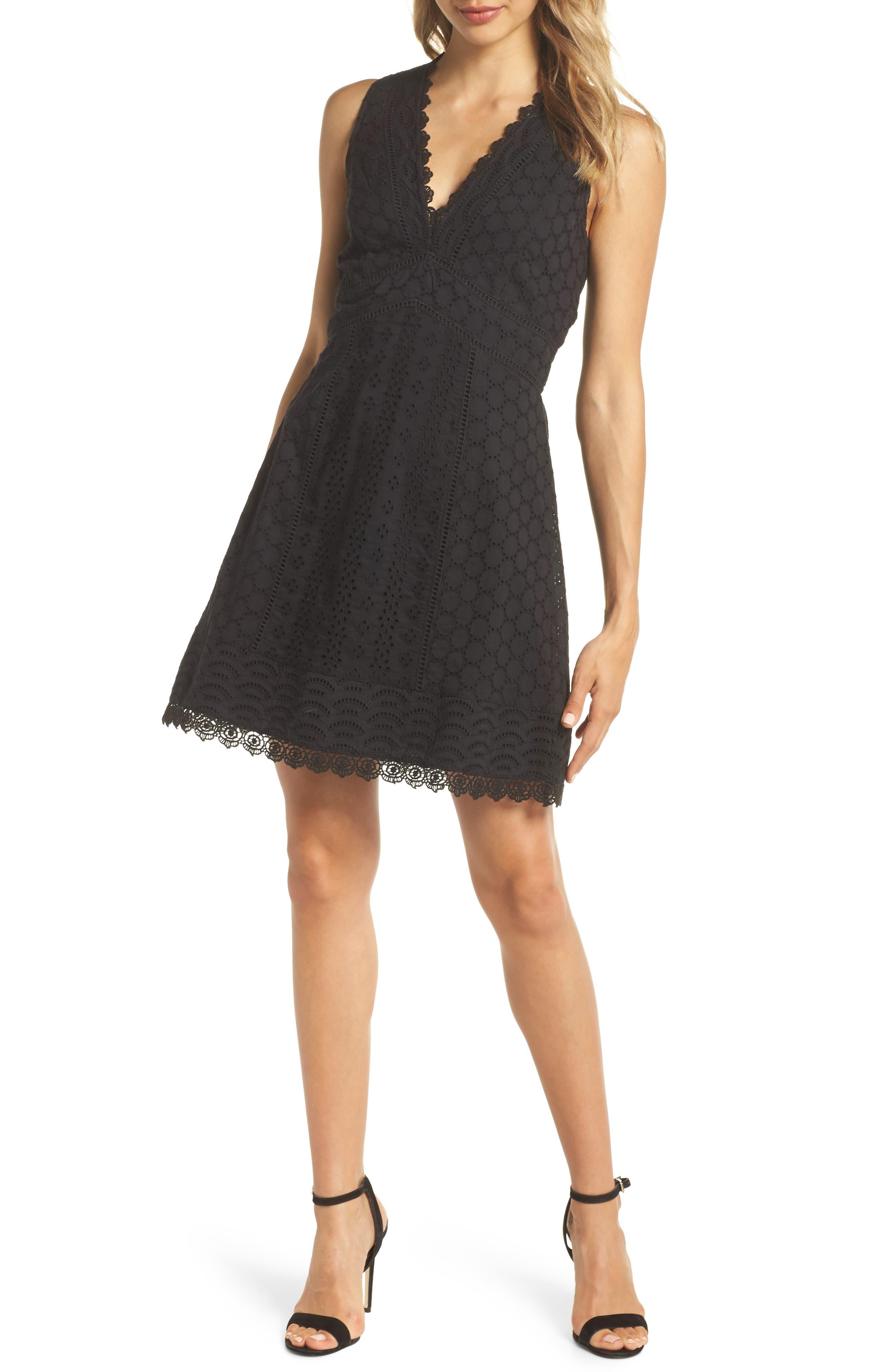 Zahara Eyelet & Lace A-Line Dress,                             Main thumbnail 1, color,                             BLACK