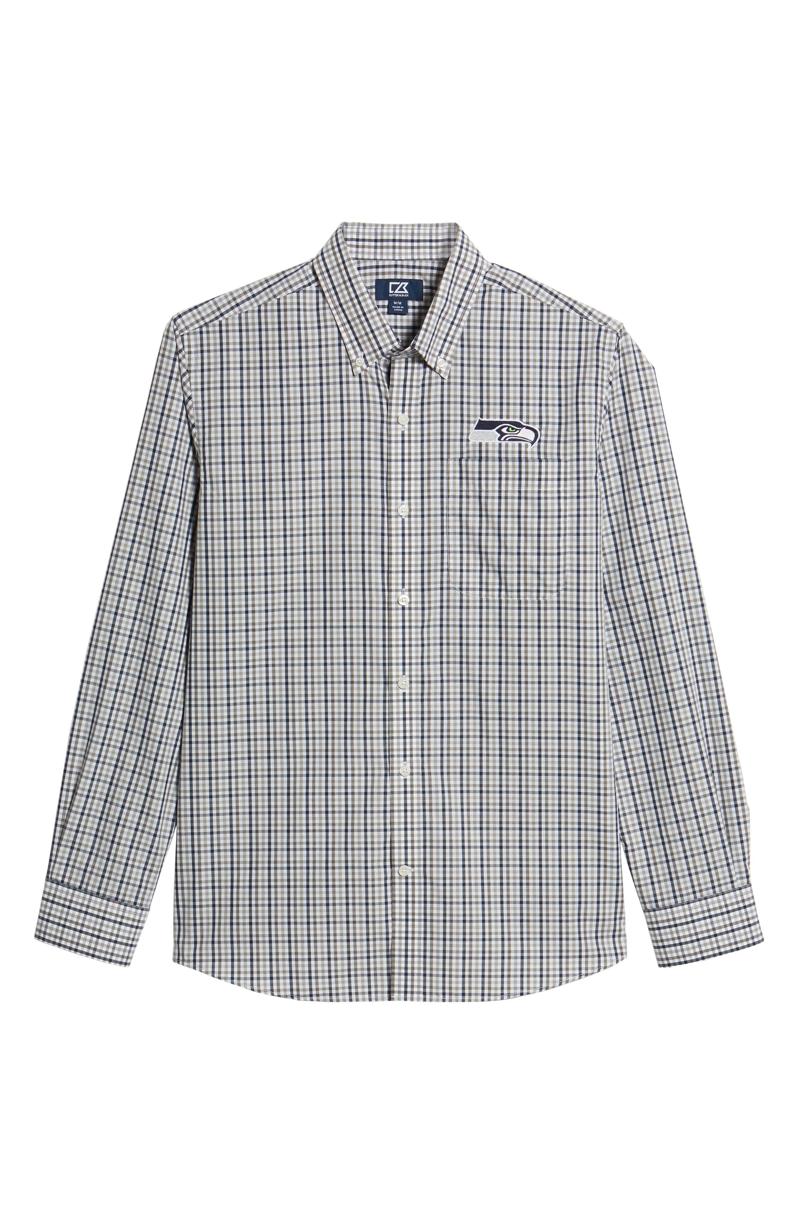 Seattle Seahawks - Gilman Regular Fit Plaid Sport Shirt,                             Alternate thumbnail 6, color,                             LIBERTY NAVY