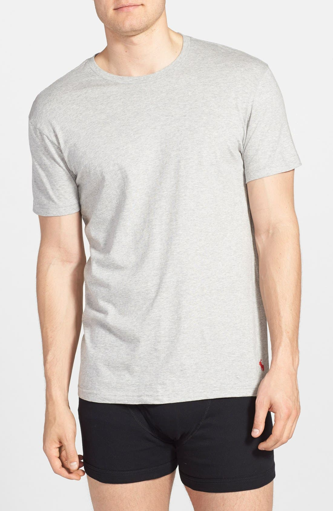 Classic Fit 3-Pack Cotton T-Shirt,                         Main,                         color, BLACK/ GREY/ CHARCOAL