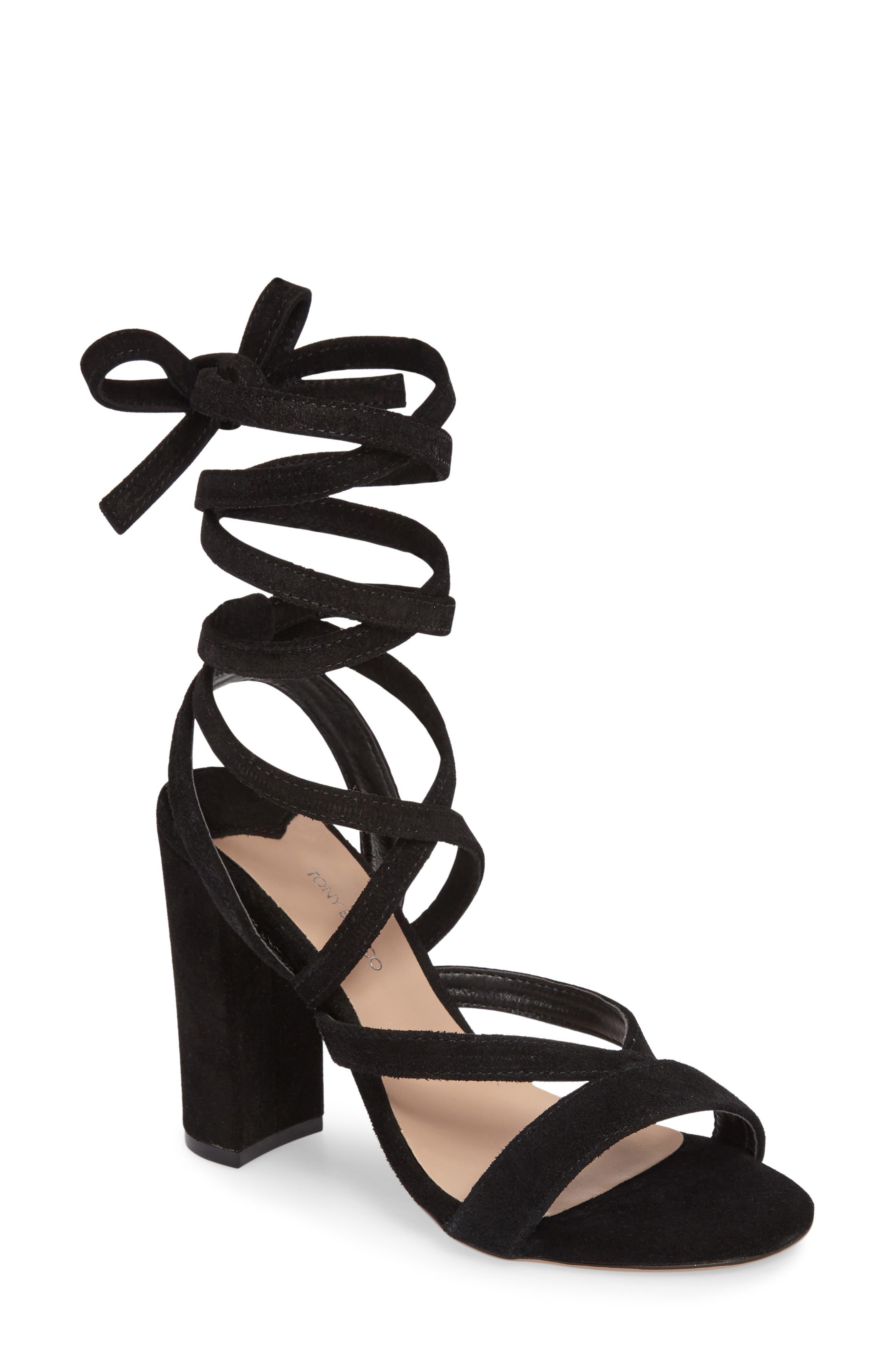 Kappa Ankle Wrap Sandal,                             Main thumbnail 1, color,                             001