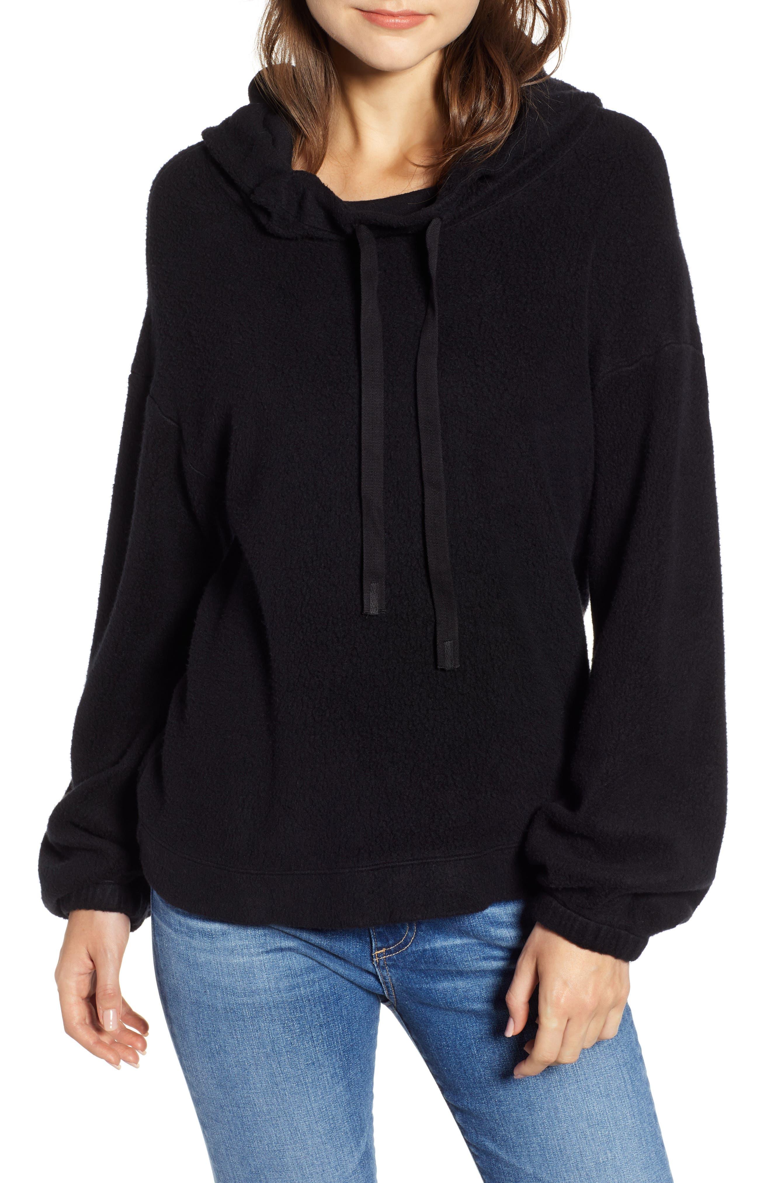 Fleece Hoodie,                         Main,                         color, BLACK