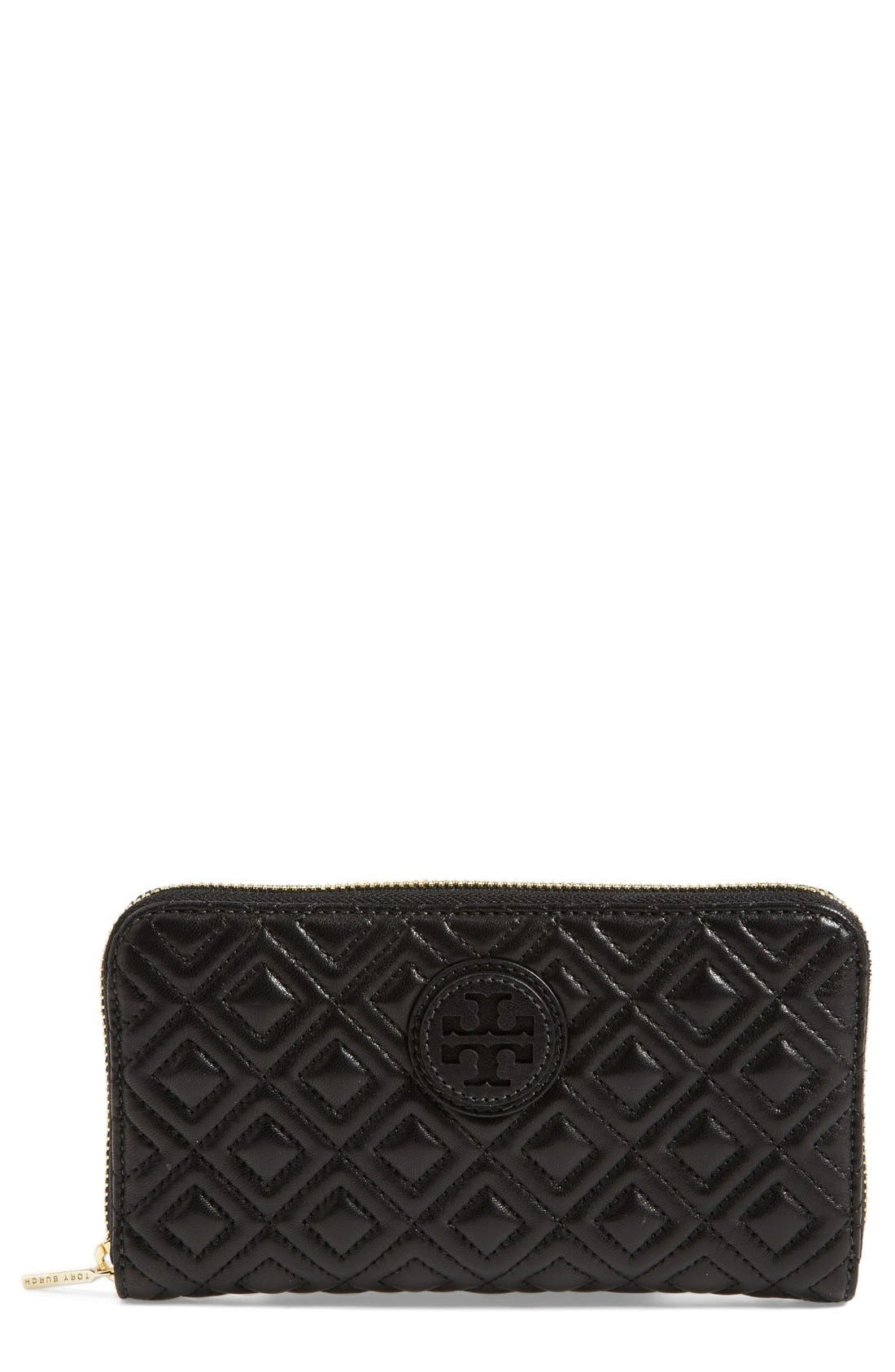 TORY BURCH 'Marion' Quilted Wallet, Main, color, 001