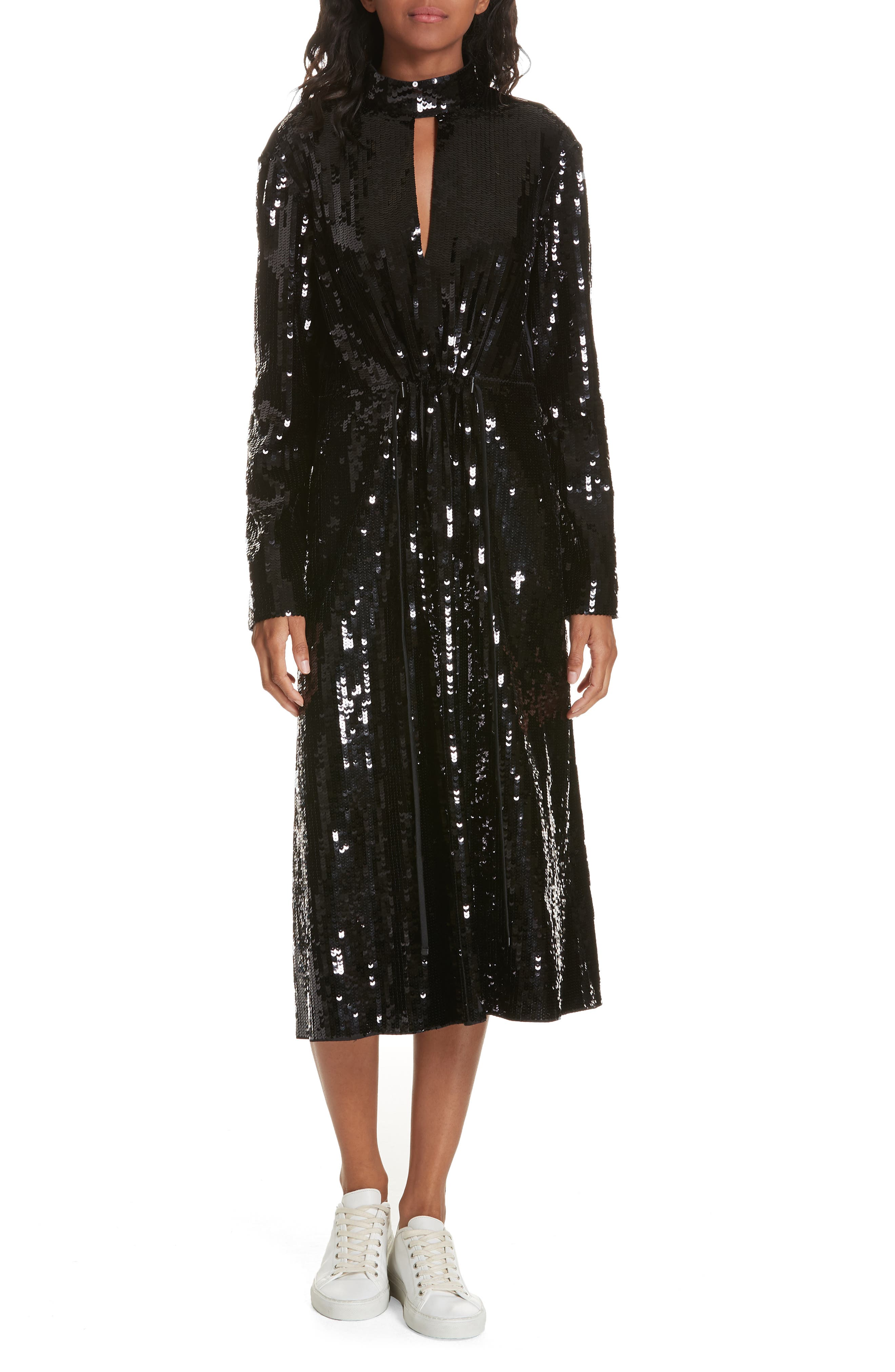 Tibi Avril Sequin Midi Dress, Black