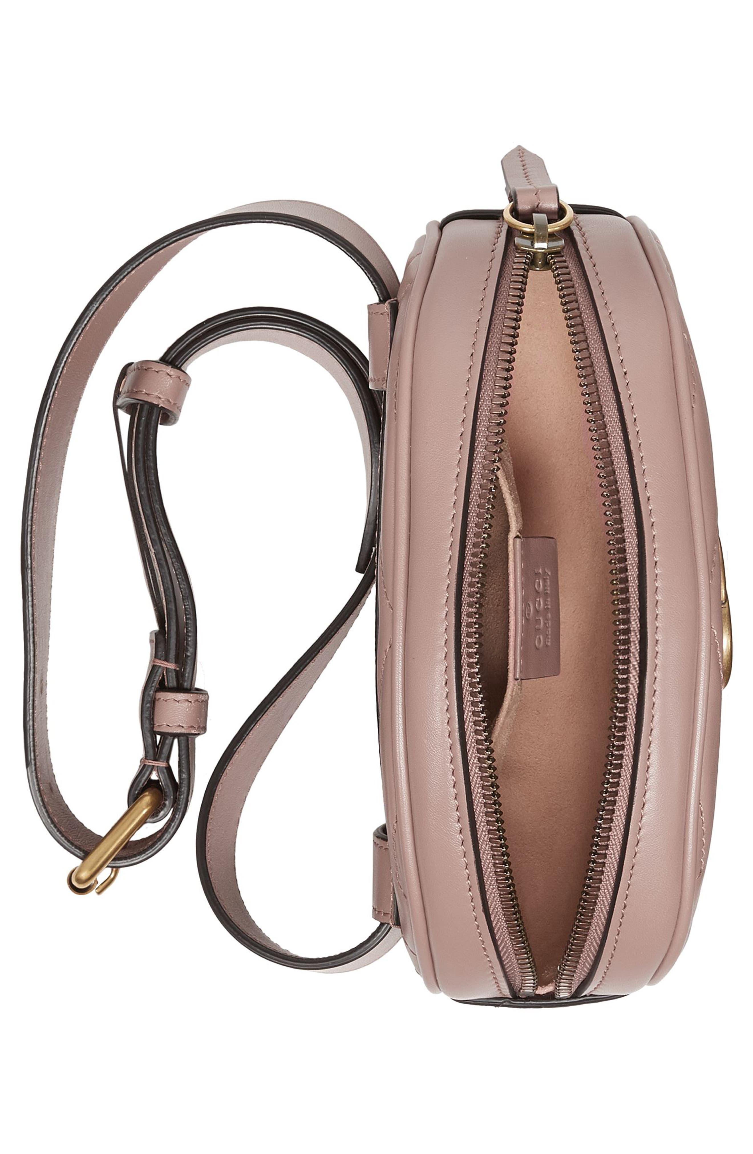 GG Marmont 2.0 Matelassé Leather Belt Bag,                             Alternate thumbnail 3, color,                             PORCELAIN ROSE