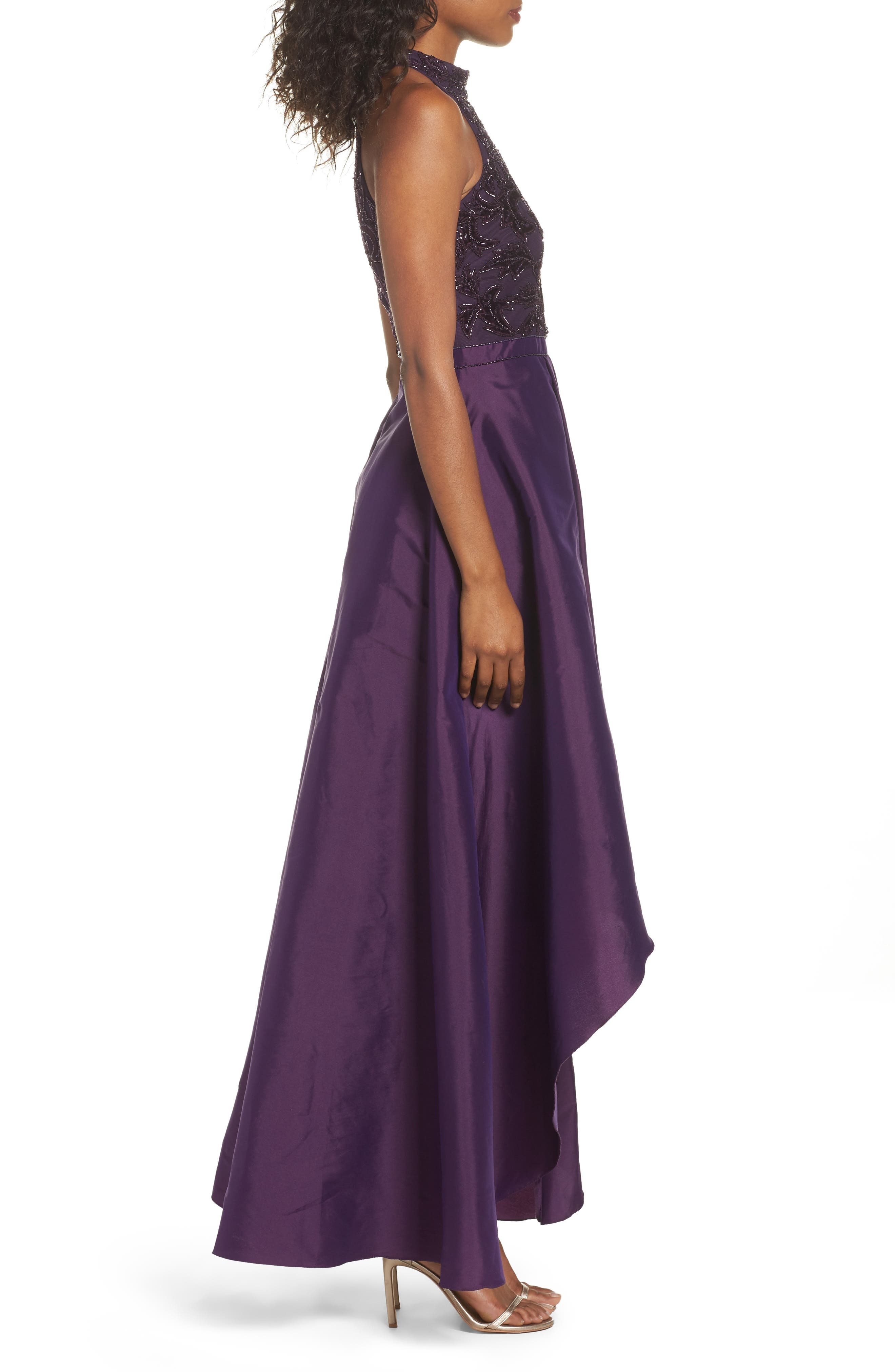 Embellished Taffeta High/Low Gown,                             Alternate thumbnail 3, color,                             501