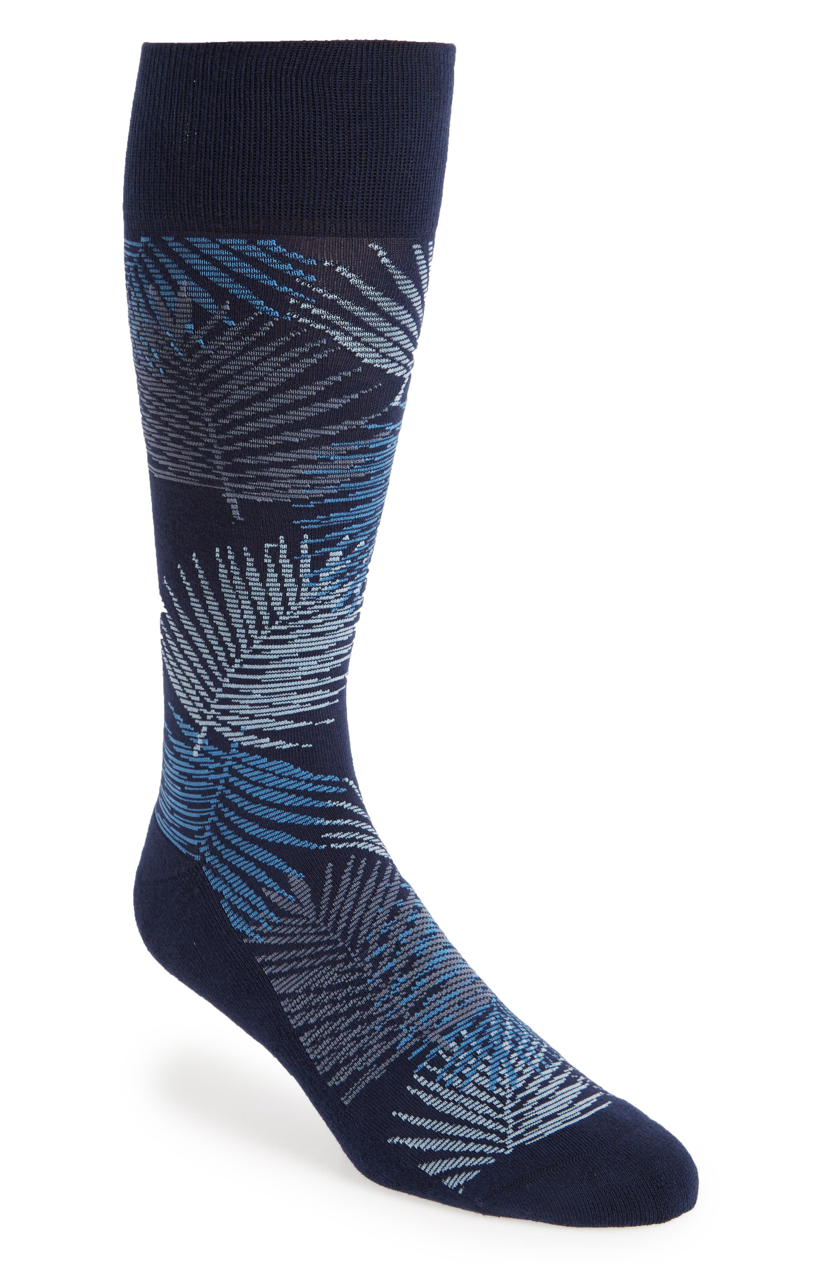 Evening Palm Frond Socks,                         Main,                         color, NAVY/ BLUE