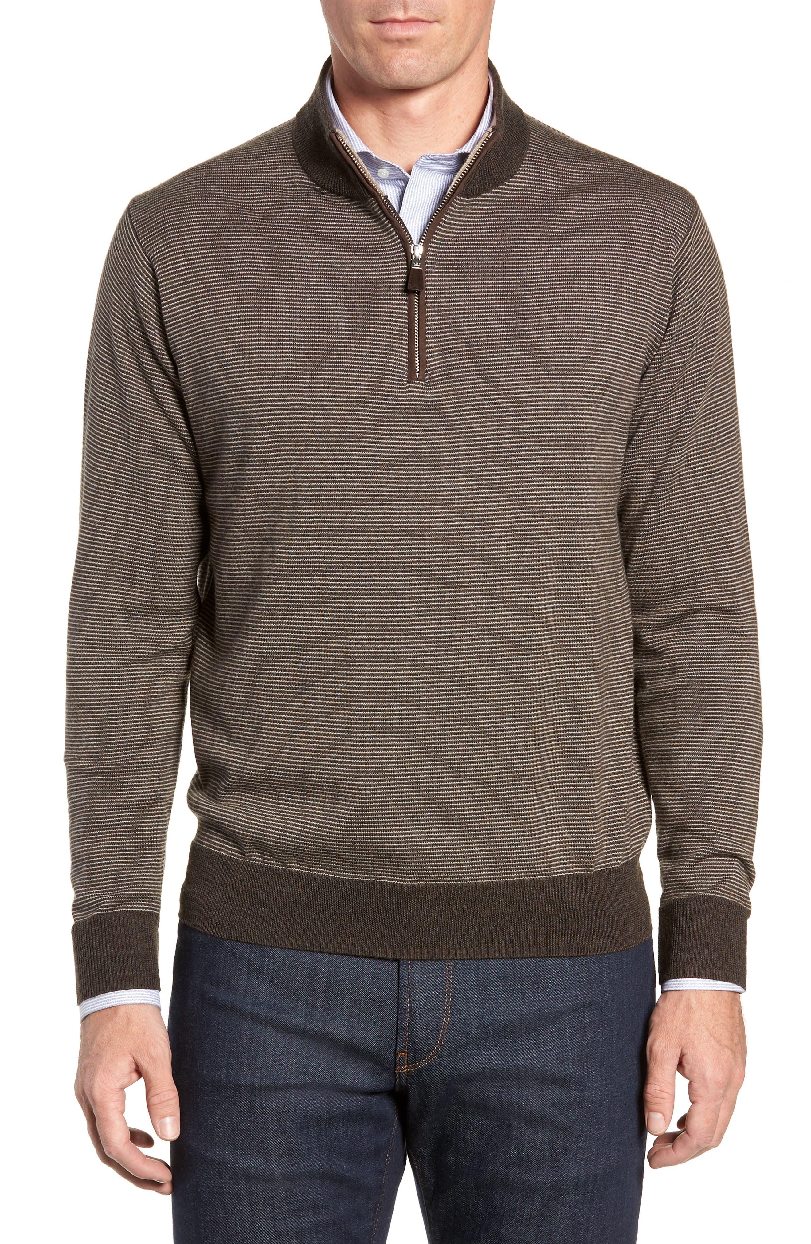 Needle Stripe Quarter Zip Sweater, Main, color, 200