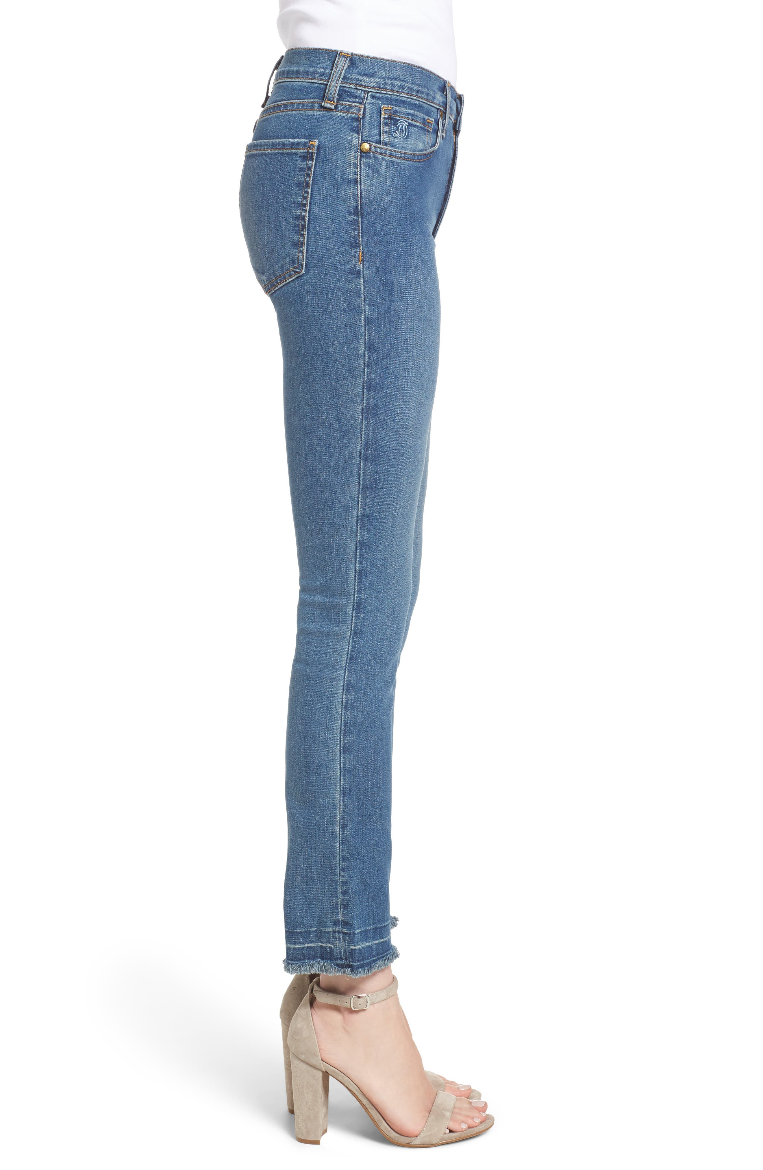 Crop Flare Jeans,                             Alternate thumbnail 3, color,                             420
