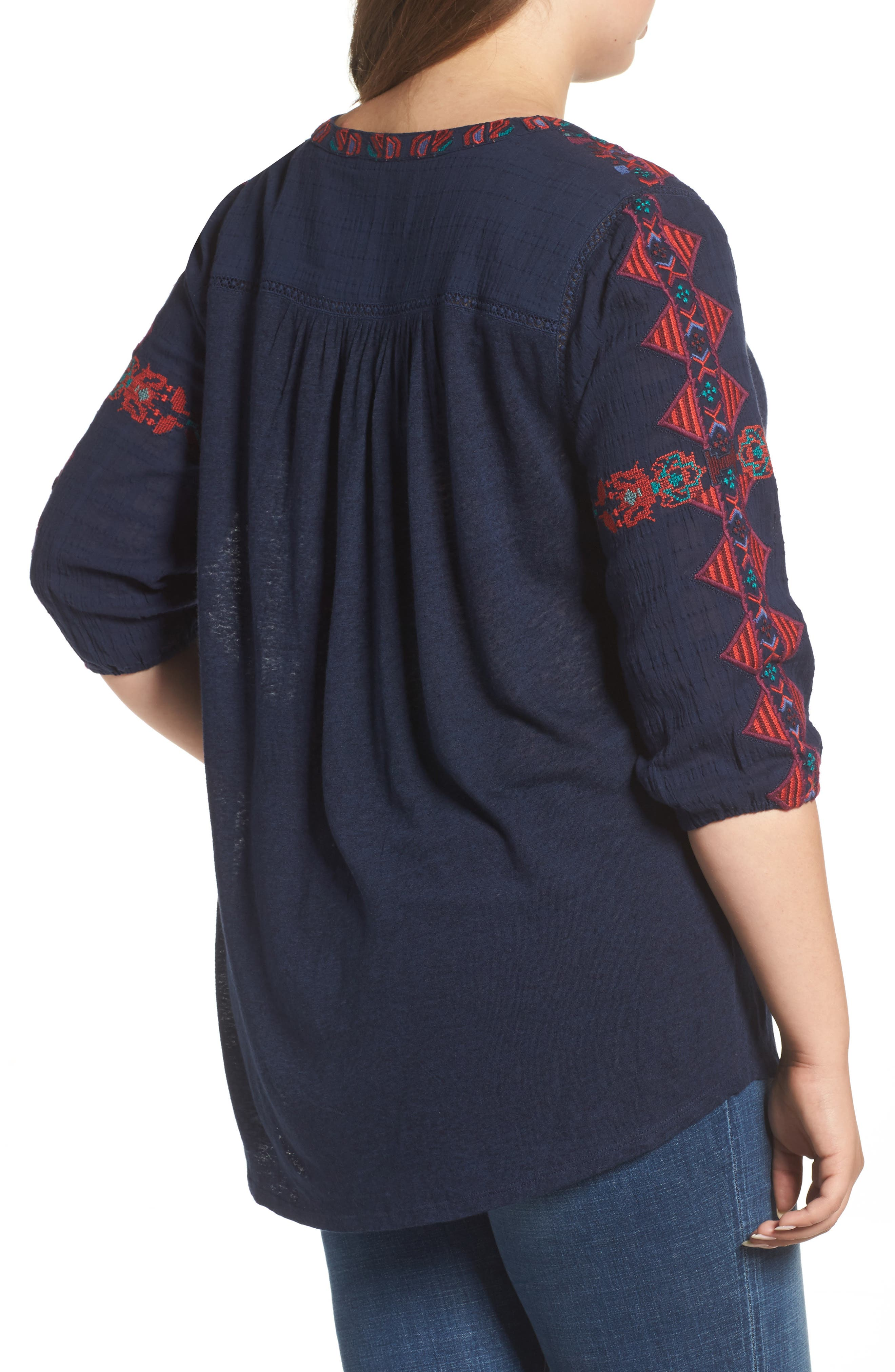 Embroidered Lace-Up Top,                             Alternate thumbnail 2, color,                             410