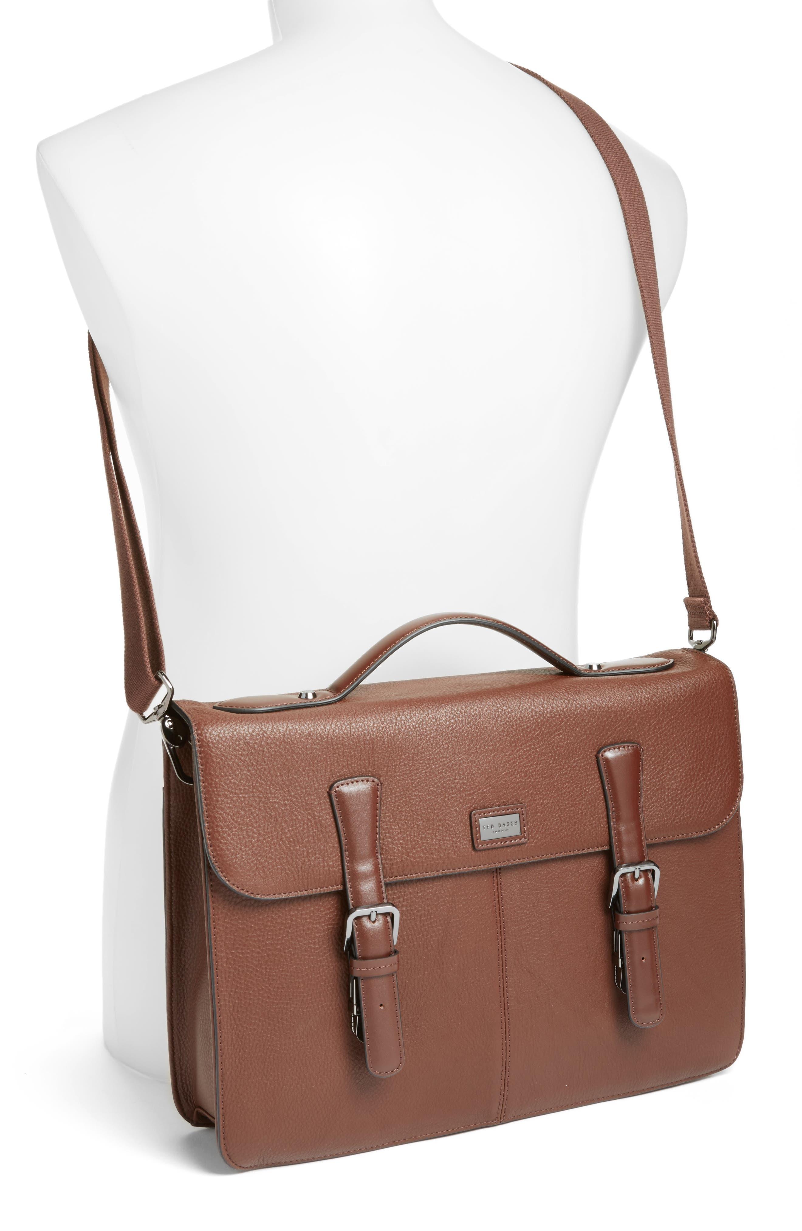 Bengal Leather Satchel,                             Alternate thumbnail 4, color,