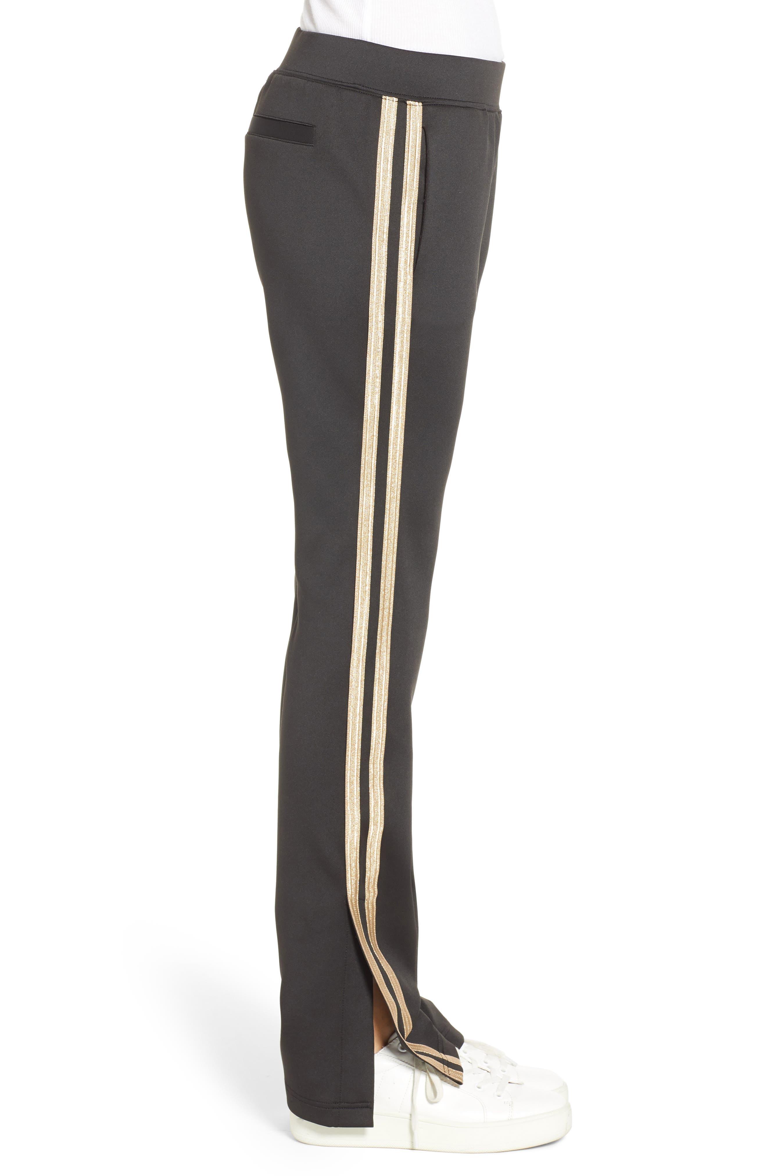 Metallic Stripe Track Pants,                             Alternate thumbnail 3, color,                             BLACK