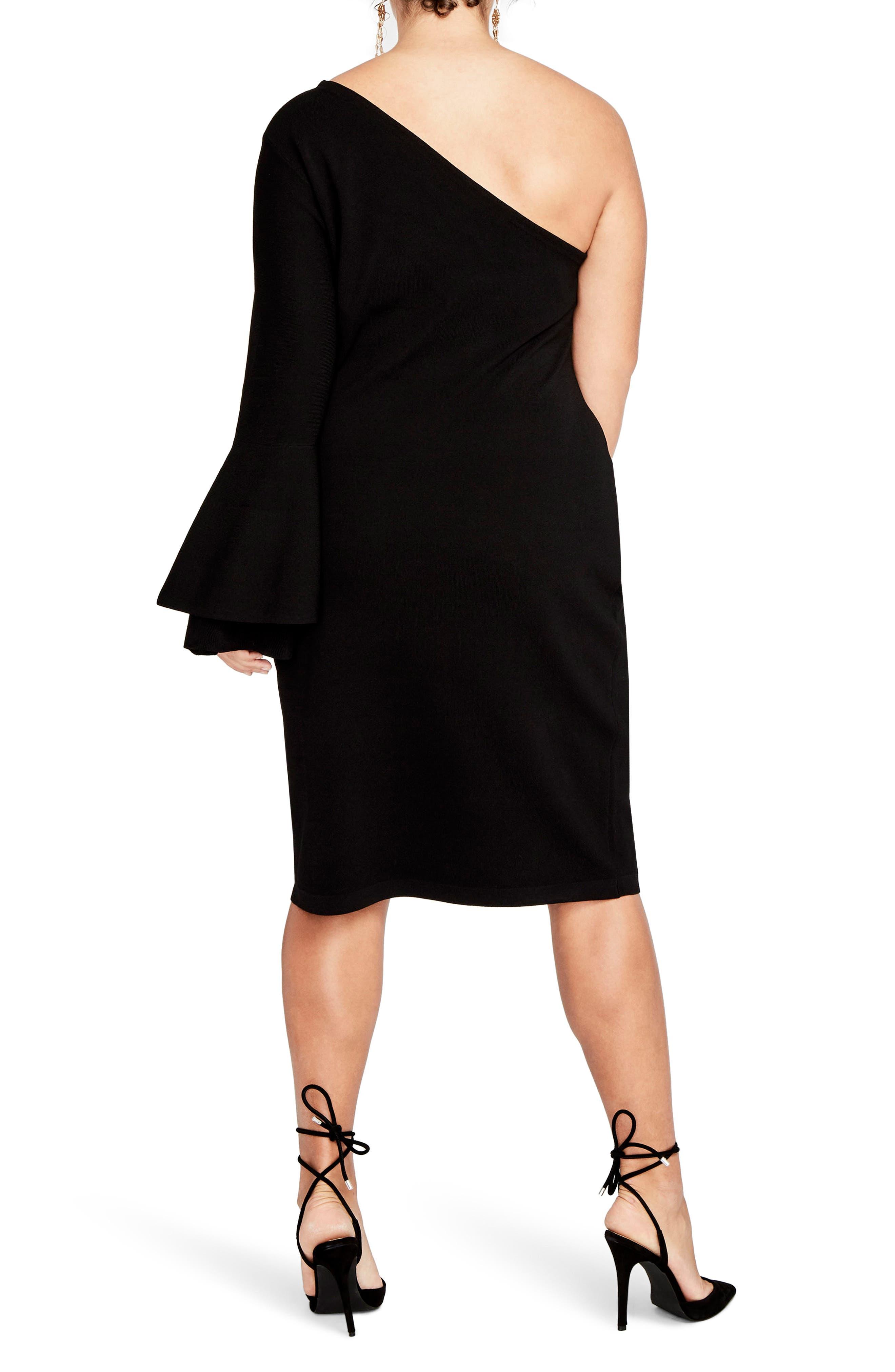One-Shoulder Knit Sheath Dress,                             Alternate thumbnail 3, color,