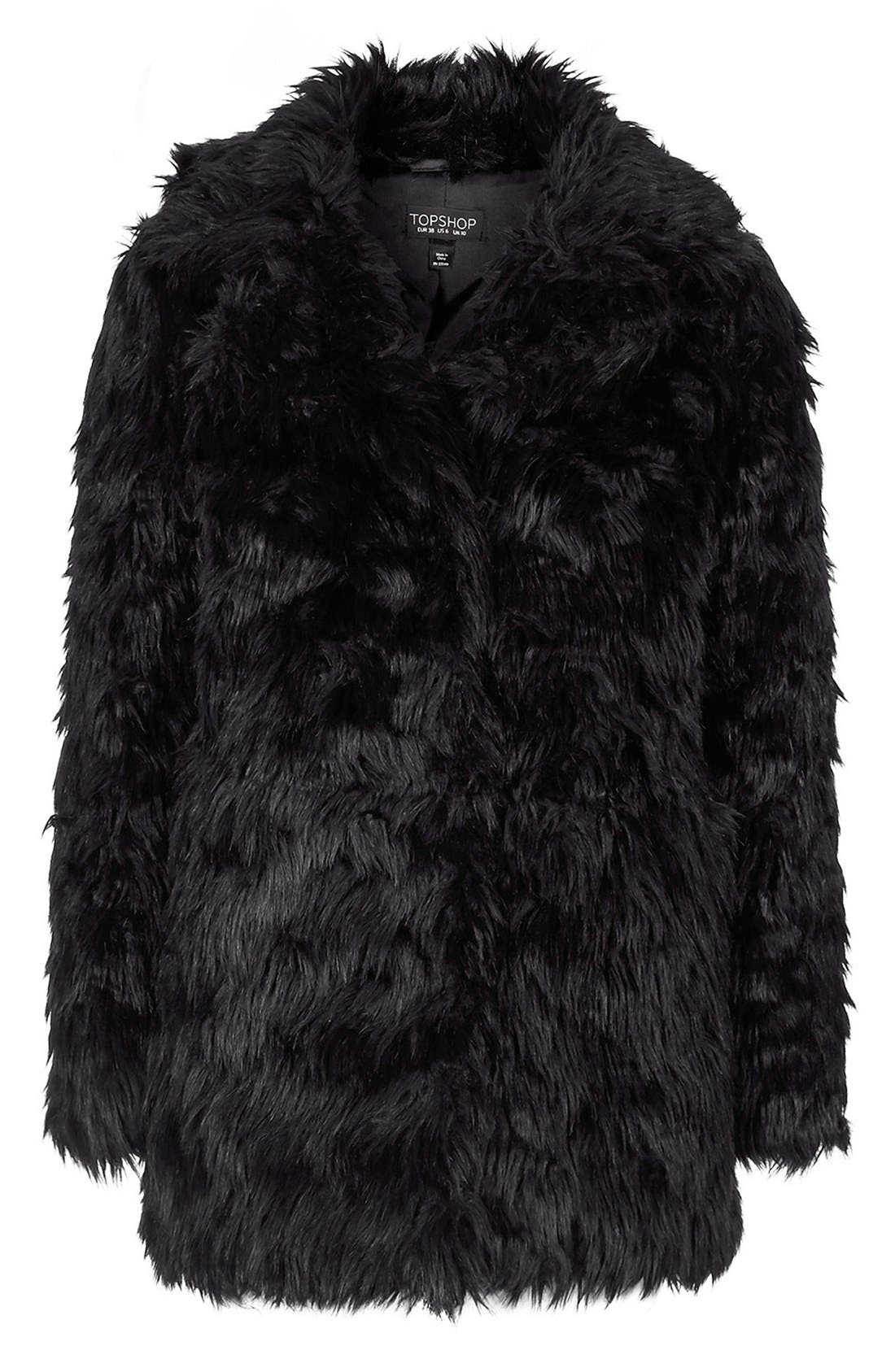 Urban Shaggy Faux Fur Coat,                             Alternate thumbnail 3, color,                             001
