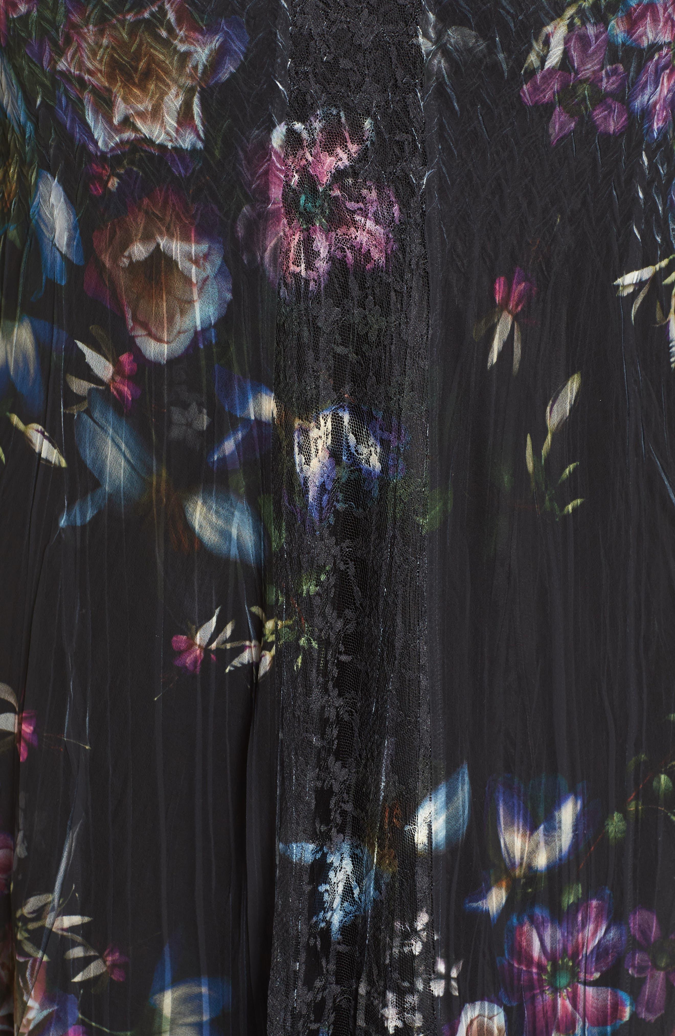 Lace Trim Floral Midi Dress,                             Alternate thumbnail 5, color,                             001