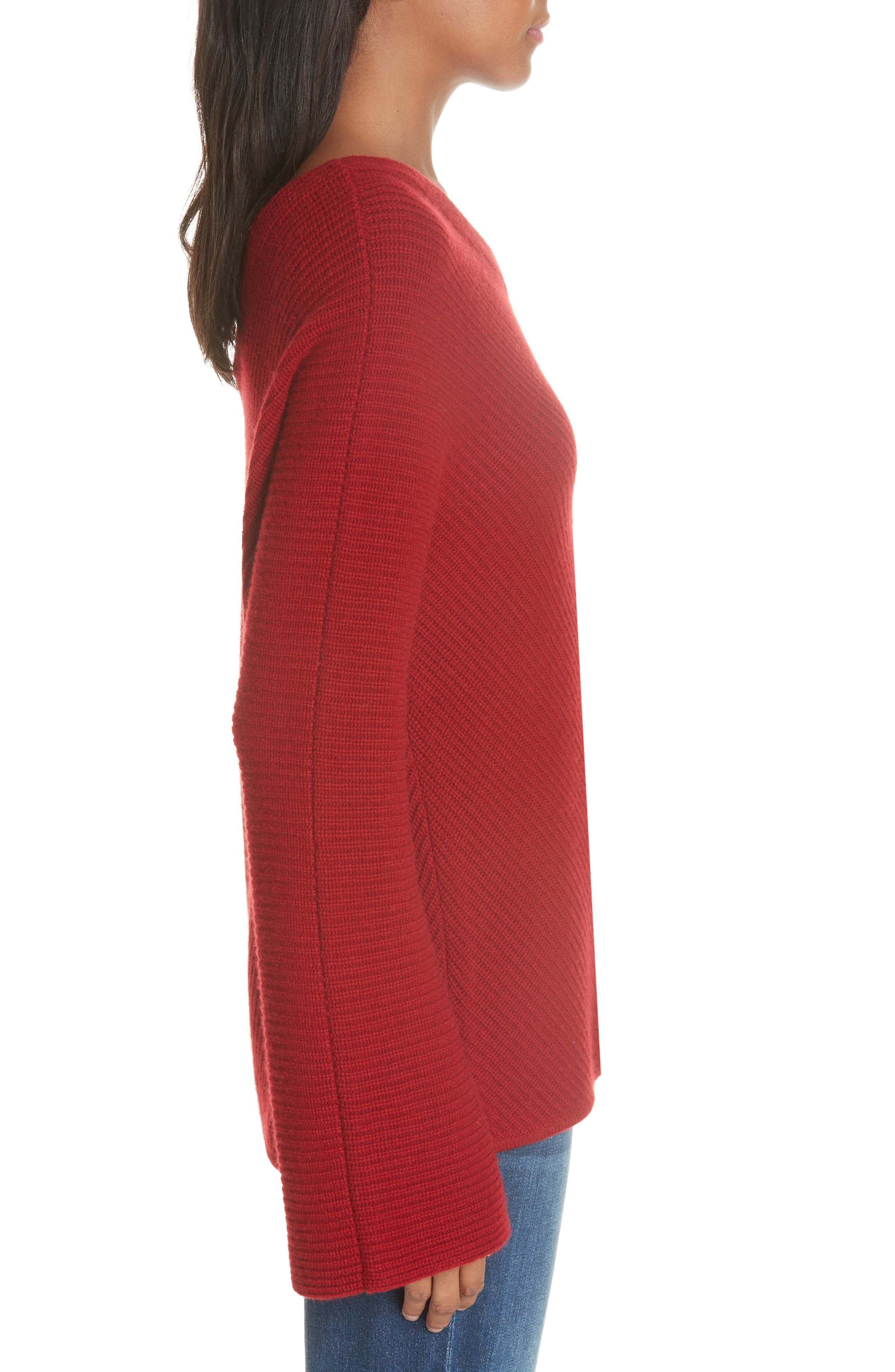 Charly Wool & Cashmere One-Shoulder Sweater,                             Alternate thumbnail 3, color,                             RED