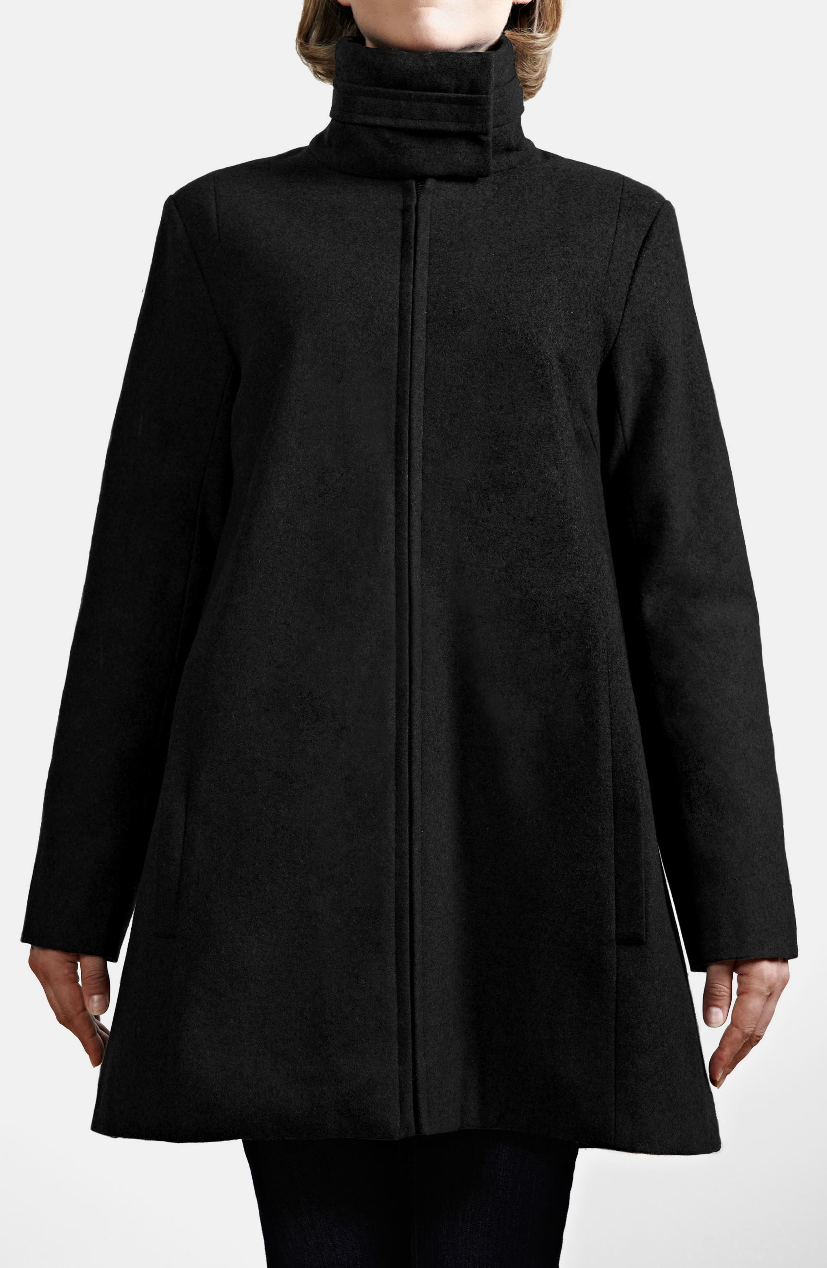 A-Line Convertible 3-in-1 Maternity Swing Coat,                             Alternate thumbnail 2, color,                             BLACK