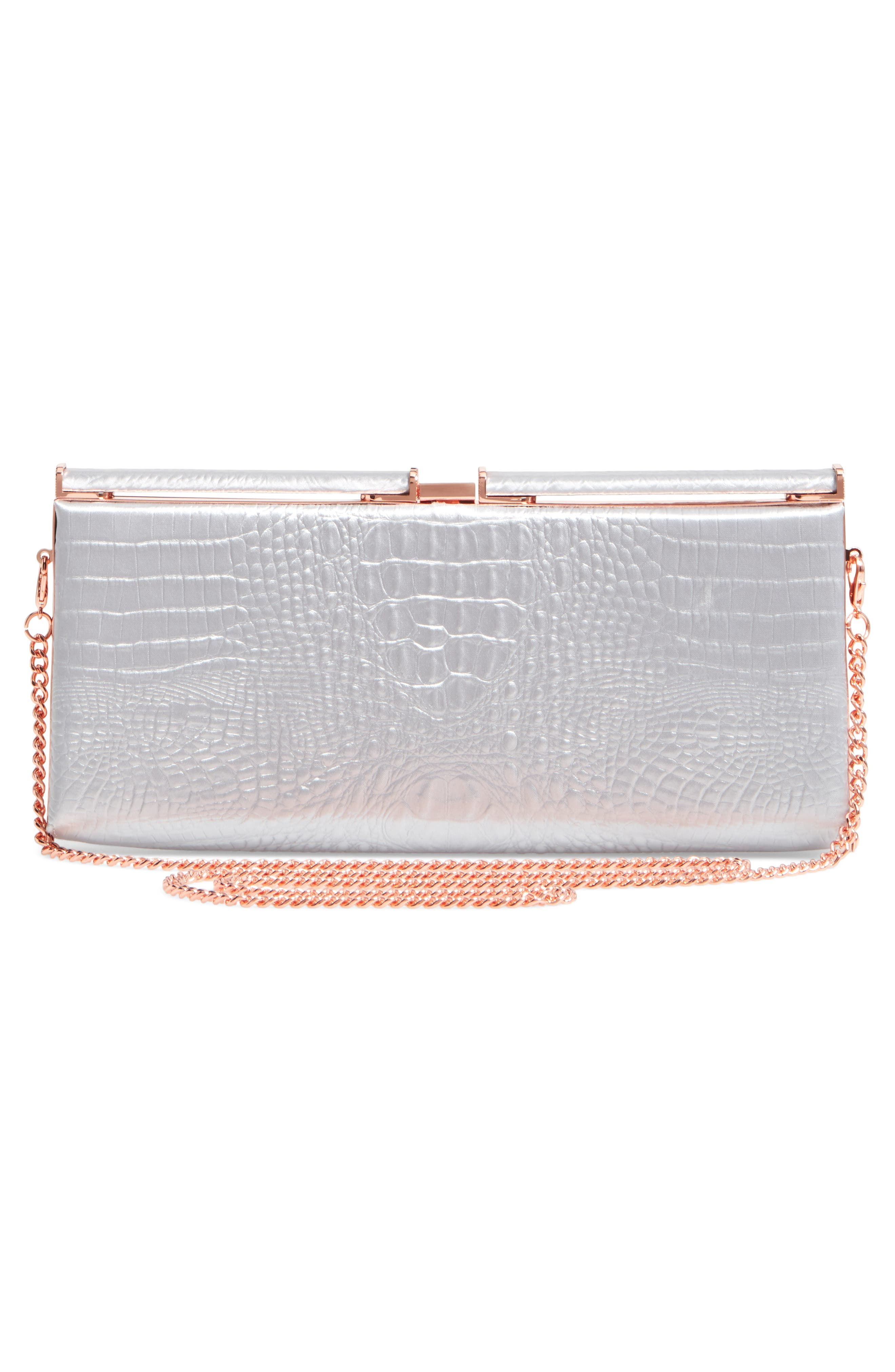 Ted Baker Darciee Embossed Frame Clutch,                             Alternate thumbnail 3, color,                             050