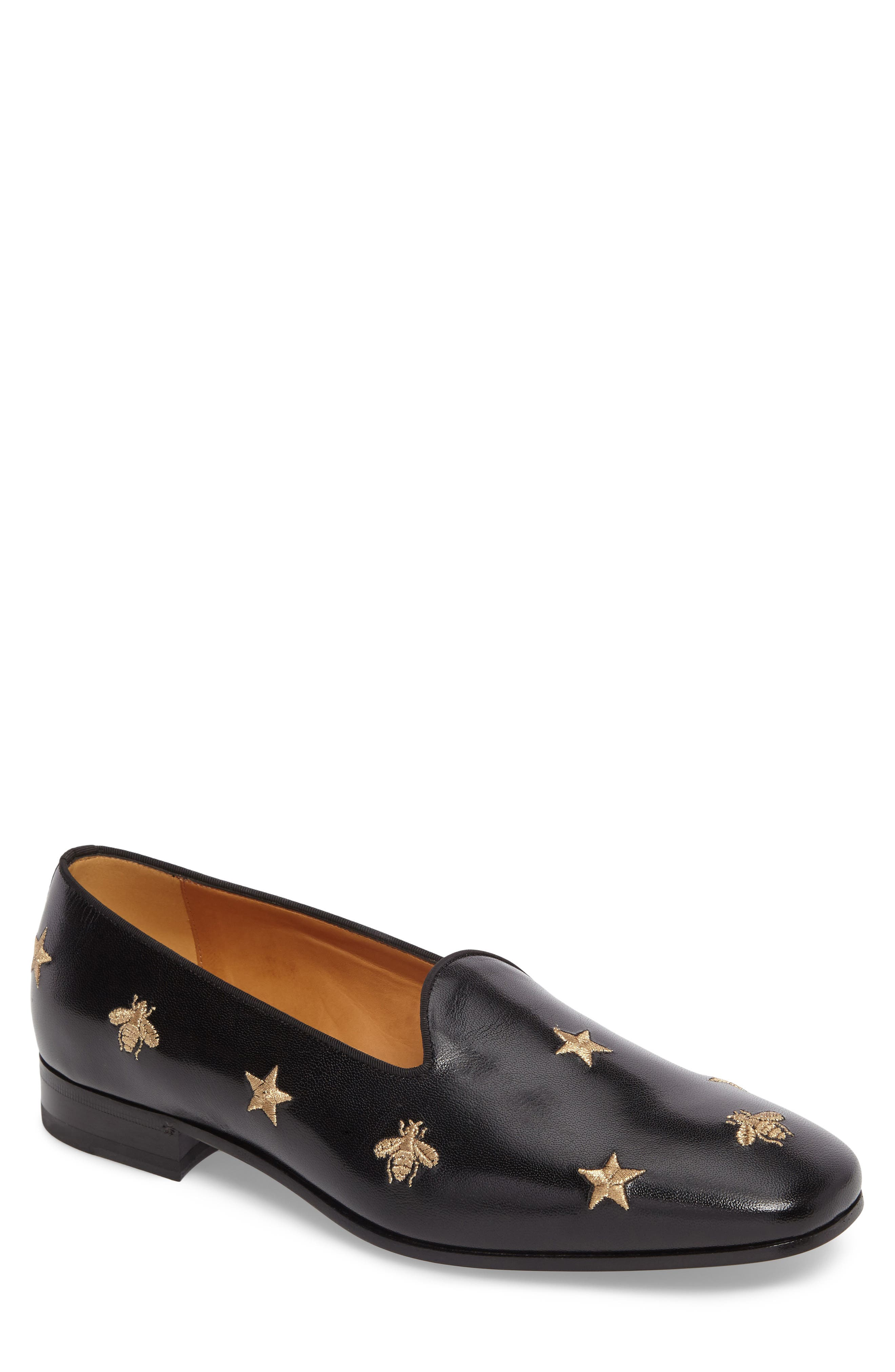 Embroidered Leather Loafer,                         Main,                         color, 001