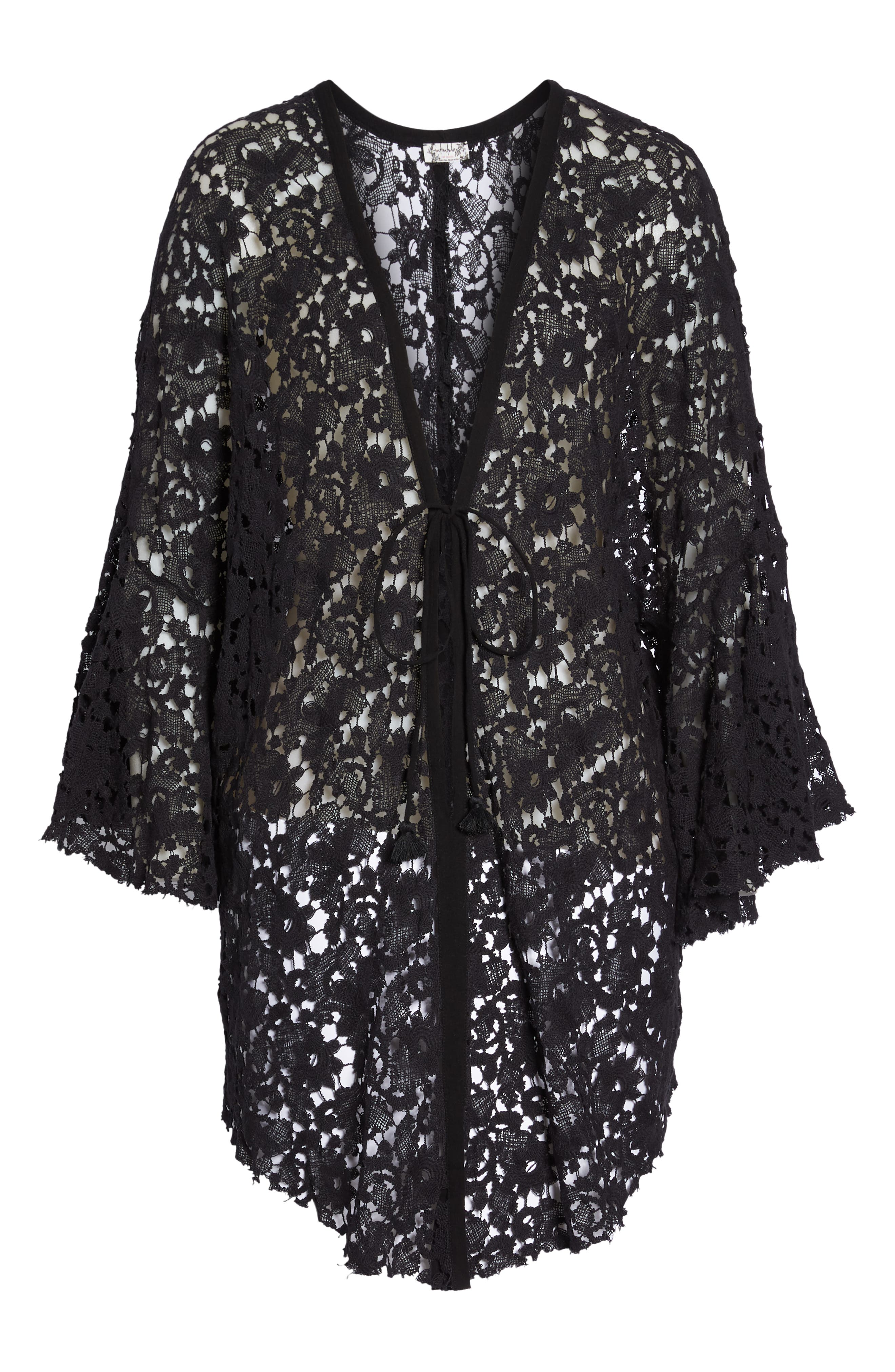 FREE PEOPLE,                             Move Over Lace Wrap,                             Alternate thumbnail 6, color,                             BLACK
