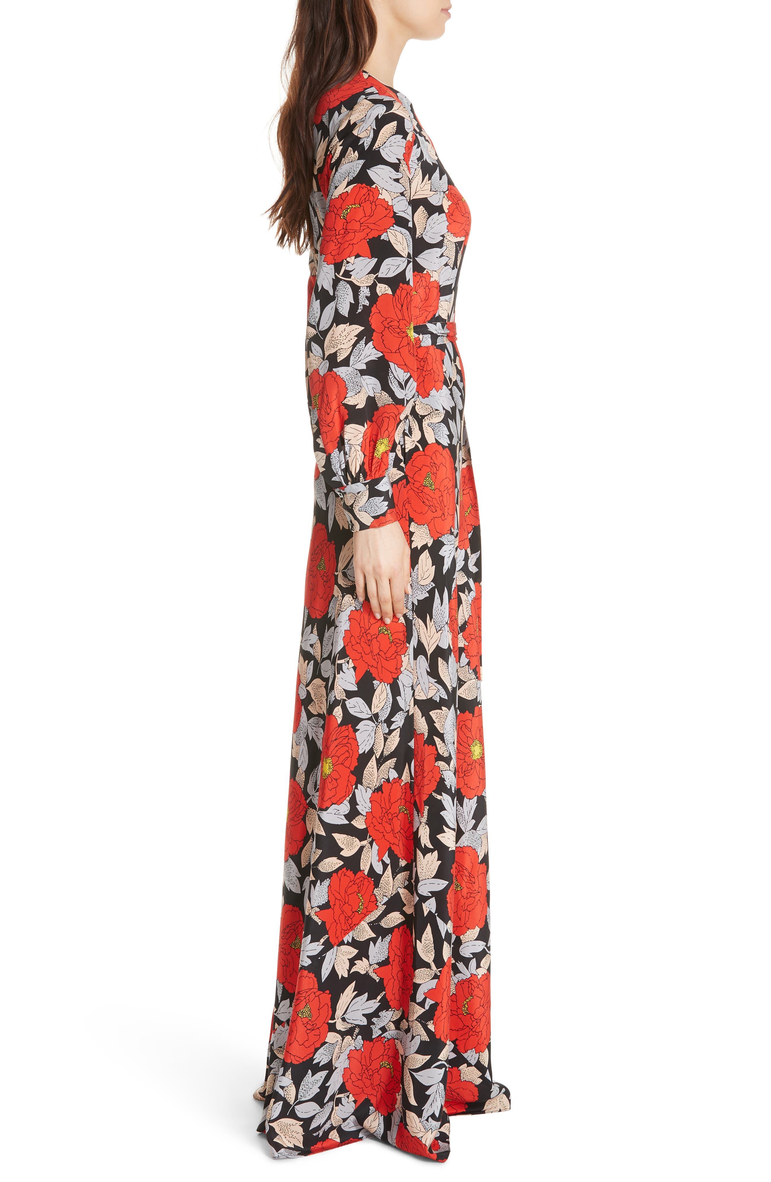 Diane von Furstenberg Waist Tie Silk Maxi Dress,                             Alternate thumbnail 3, color,