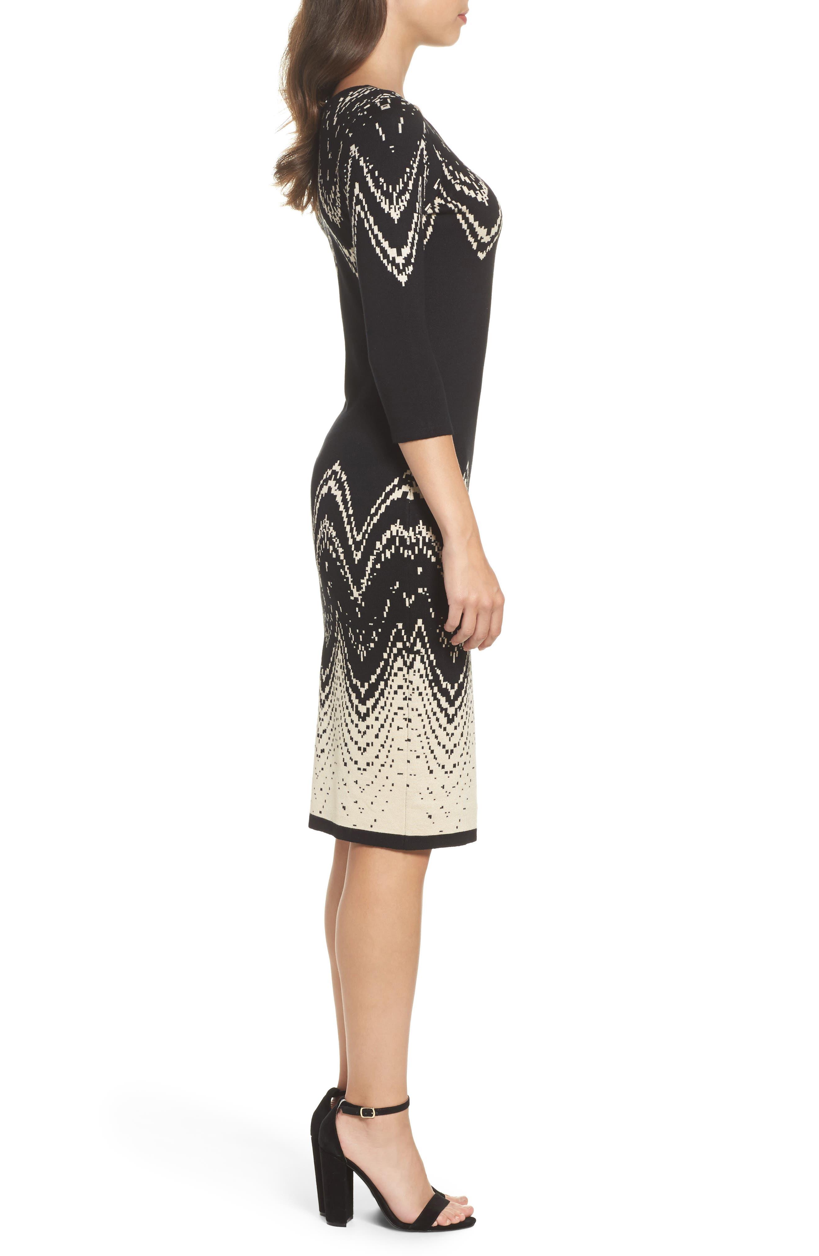 Print Sweater Dress,                             Alternate thumbnail 3, color,                             001