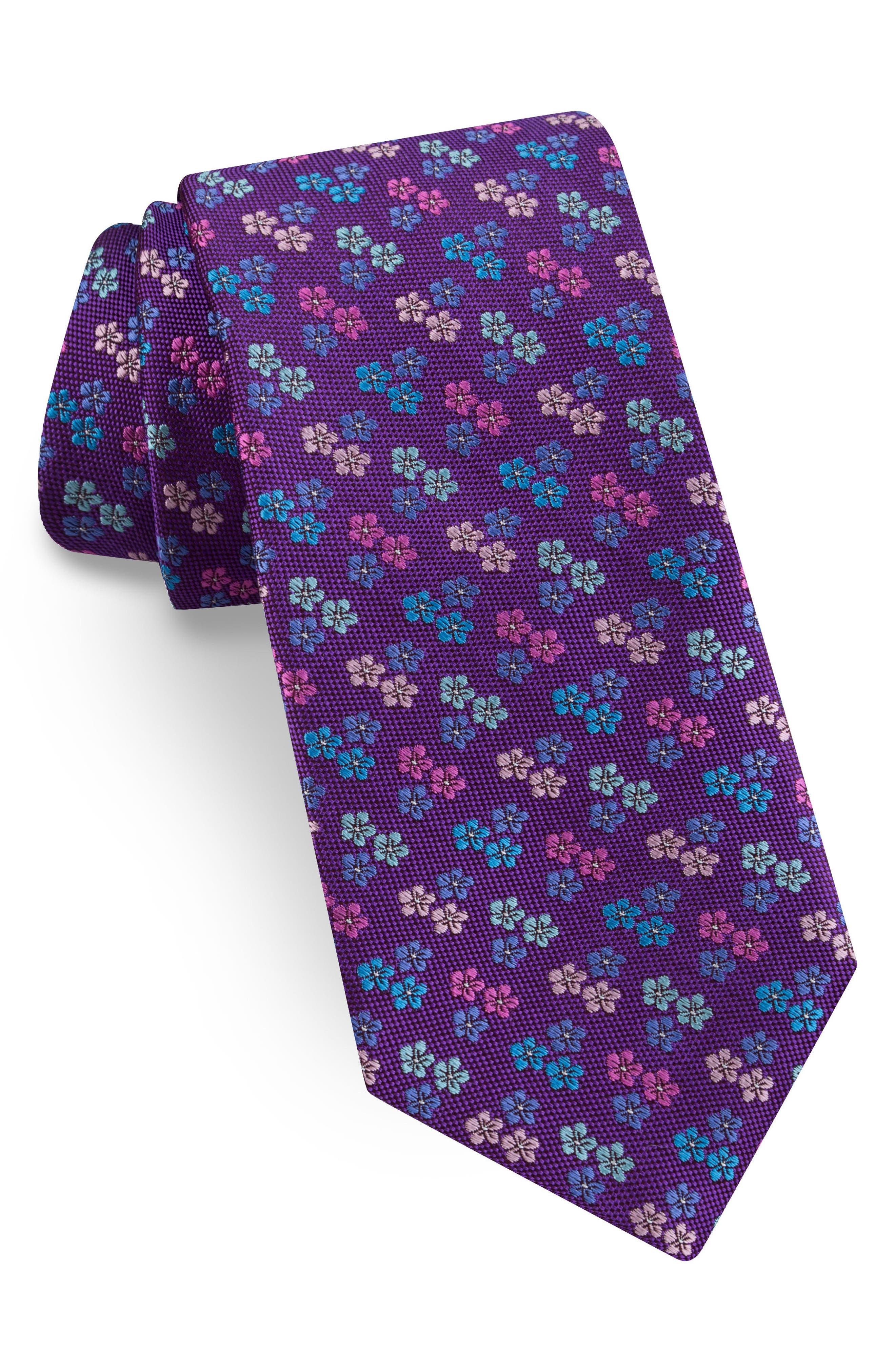 Floral Silk Tie,                         Main,                         color, PURPLE