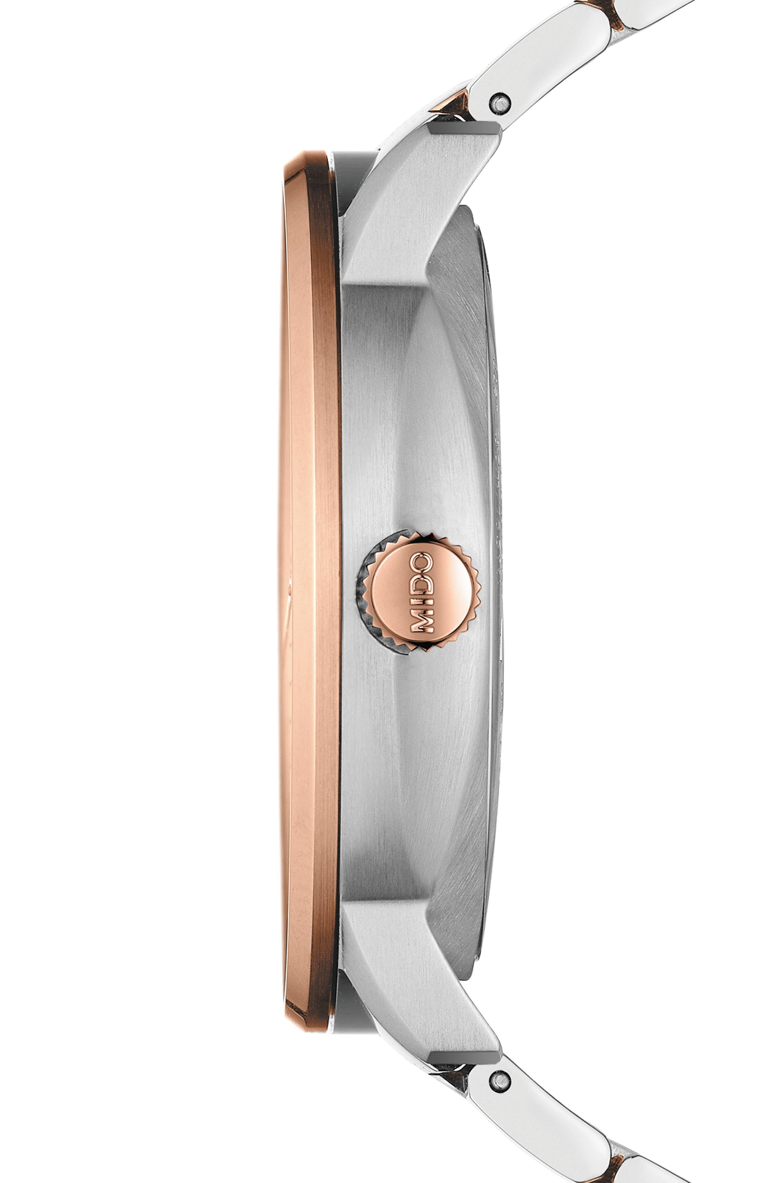 Commander II Skeleton Bracelet Watch, 42mm,                             Alternate thumbnail 3, color,                             ROSE GOLD/ SILVER