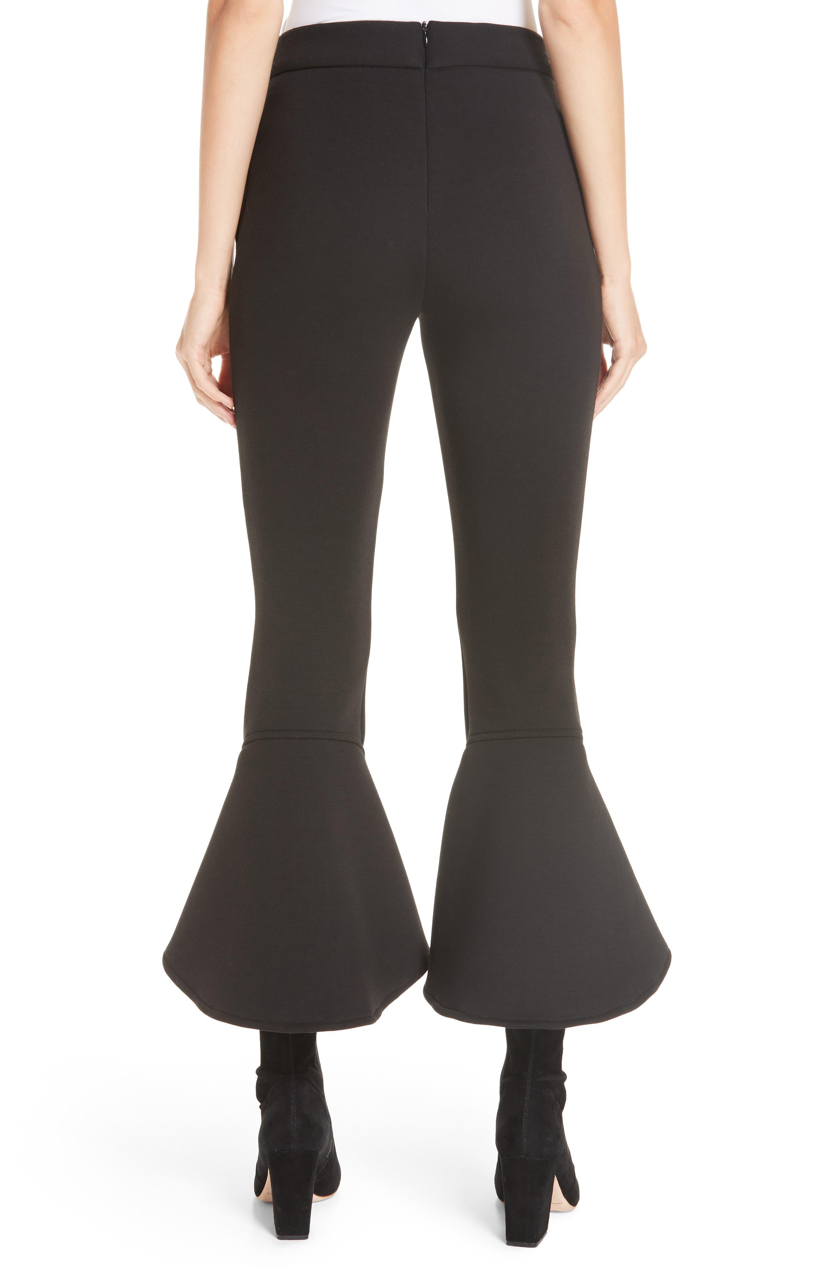 Ruffle Bell Bottom Neoprene Pants,                             Alternate thumbnail 2, color,                             BLACK