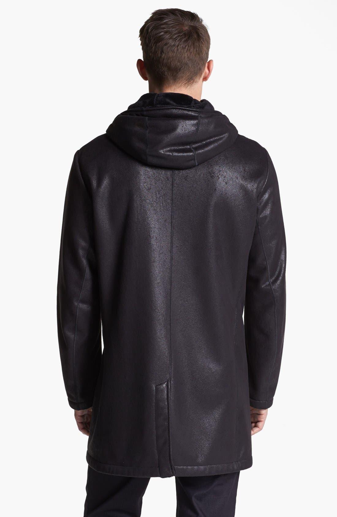 Armani Collezioni Faux Leather Duffle Coat,                             Alternate thumbnail 2, color,                             001