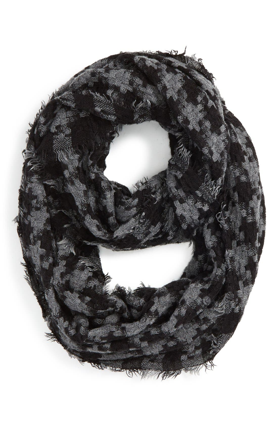 Houndstooth Woven Infinity Scarf,                             Main thumbnail 1, color,                             001