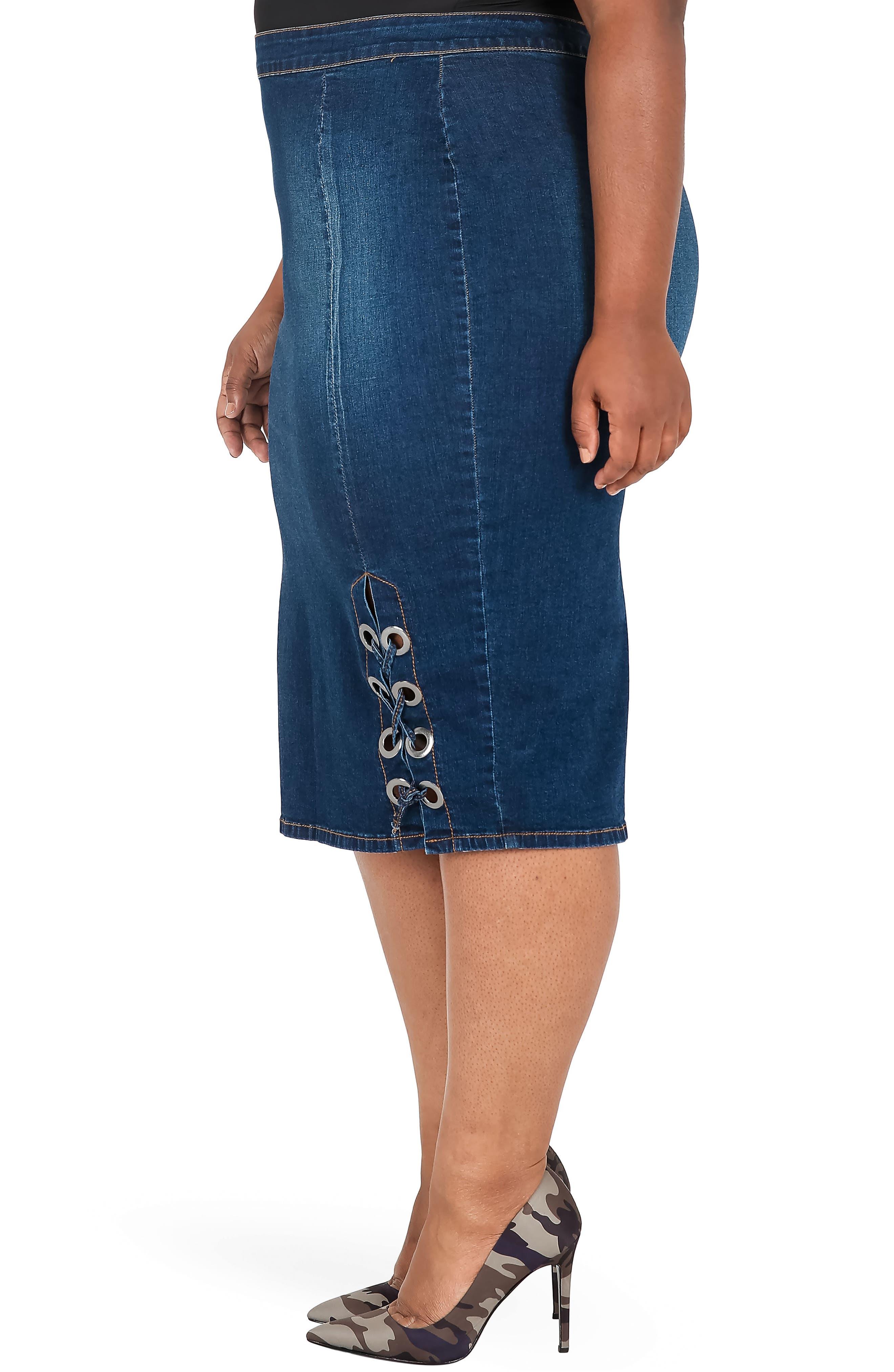Eula Denim Skirt,                             Alternate thumbnail 3, color,                             BLUE